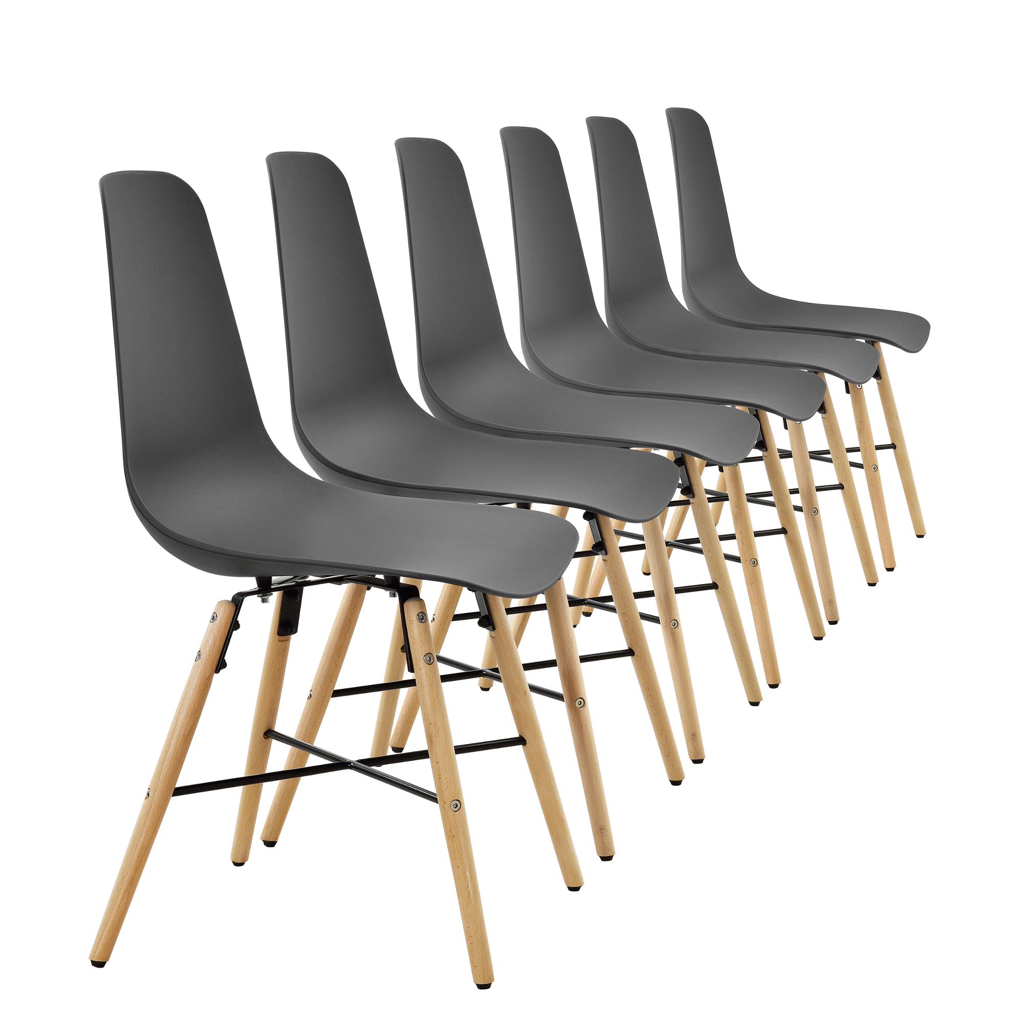 Ensemble de 6 chaise salle manger gris for Chaise design plastique salle a manger