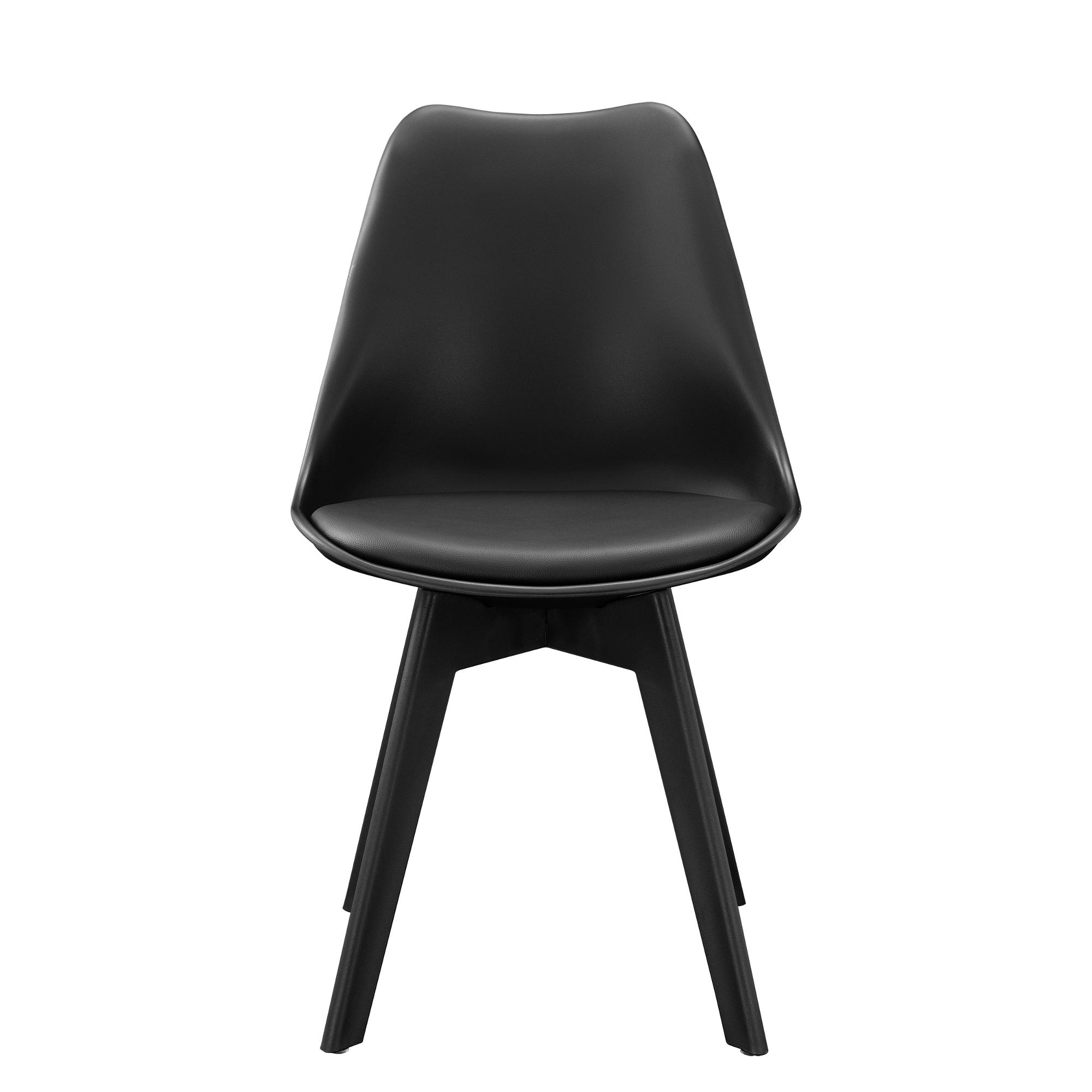 6x design st hle esszimmer schwarz stuhl kunststoff kunst leder stuhl ebay. Black Bedroom Furniture Sets. Home Design Ideas