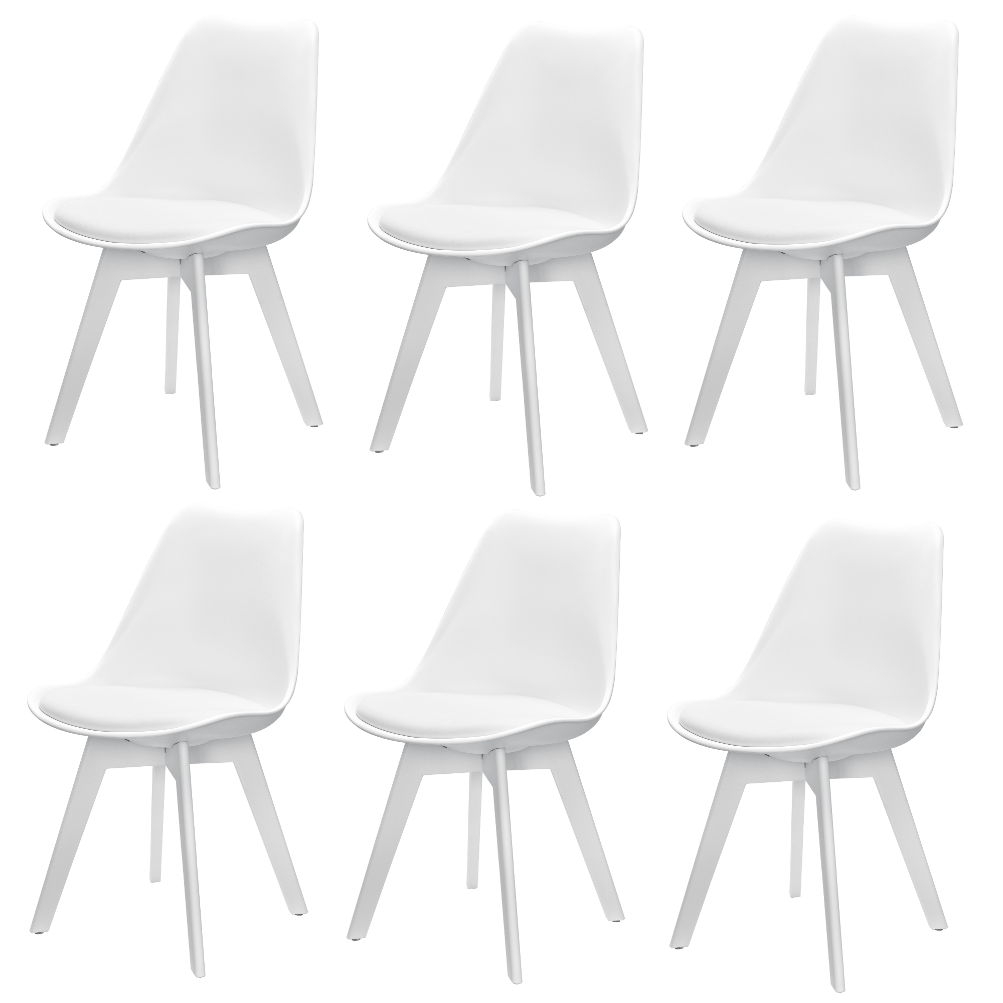 6x Design Sedie Sala Da Pranzo Bianco Sedia Plastica Cuoio Arte