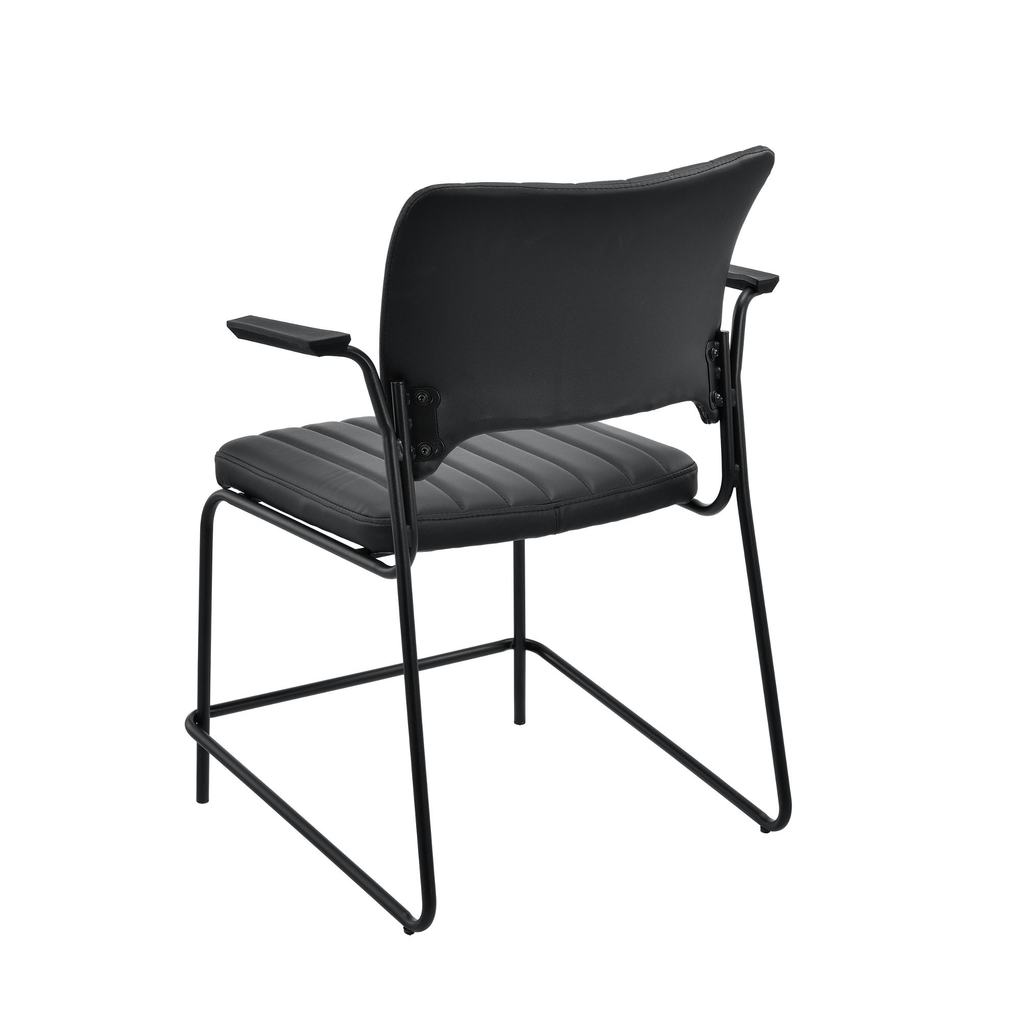 [en.casa]® Konferenzstuhl 2er Set schwarz Besucherstuhl Büro Stuhl Stapelstuhl 5