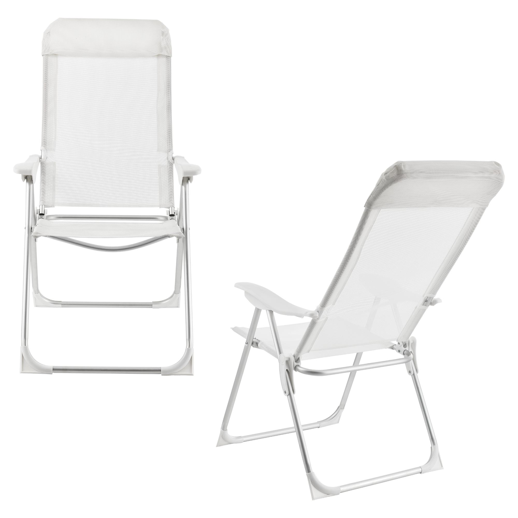 Détails sur [casa.pro]® 2x Alu Chaise du jardin camping pliable Aluminium chaise haute blanc