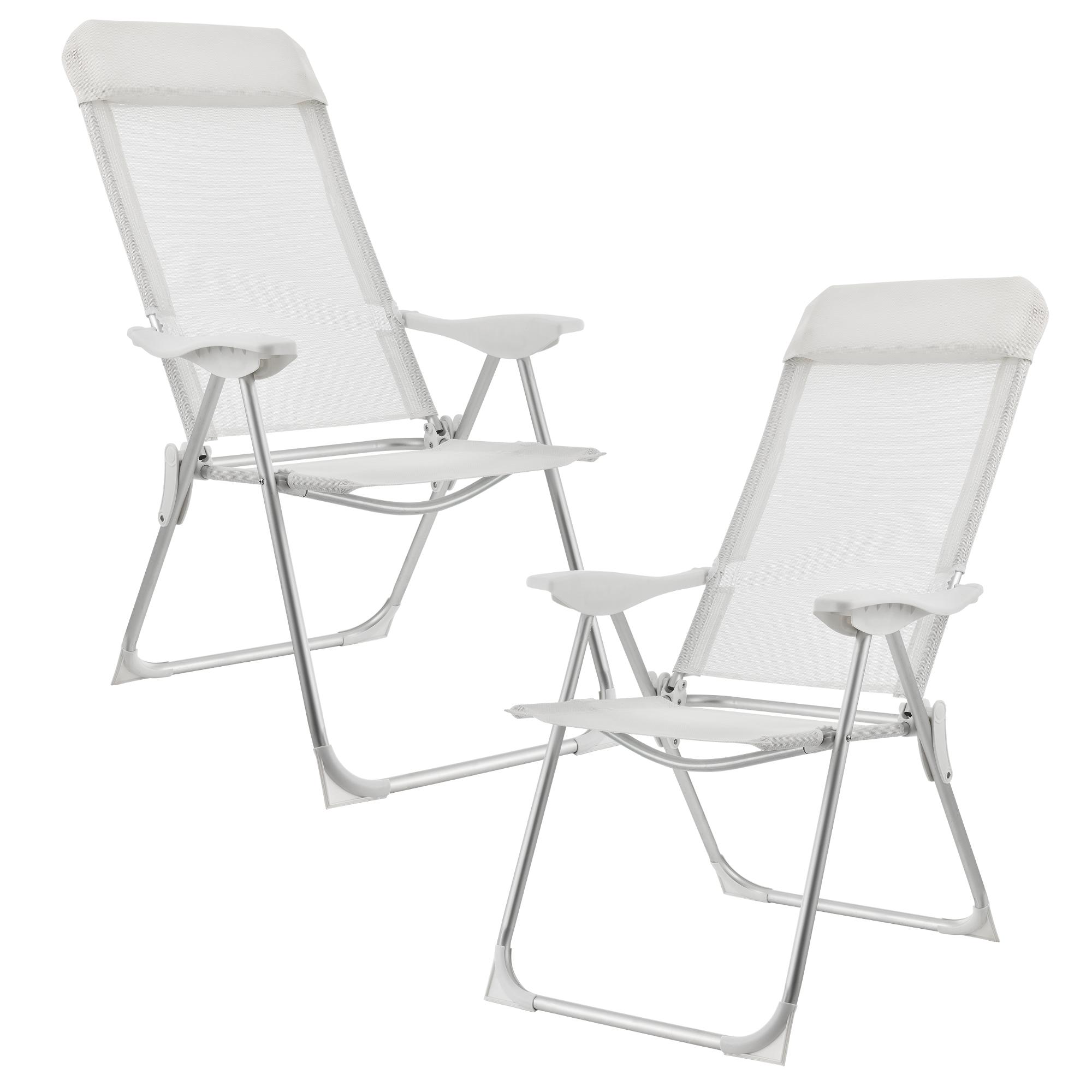 [casa.pro]® Campingové židle - rybářské křeslo set,108 x 58 cm,43 cm,bilá
