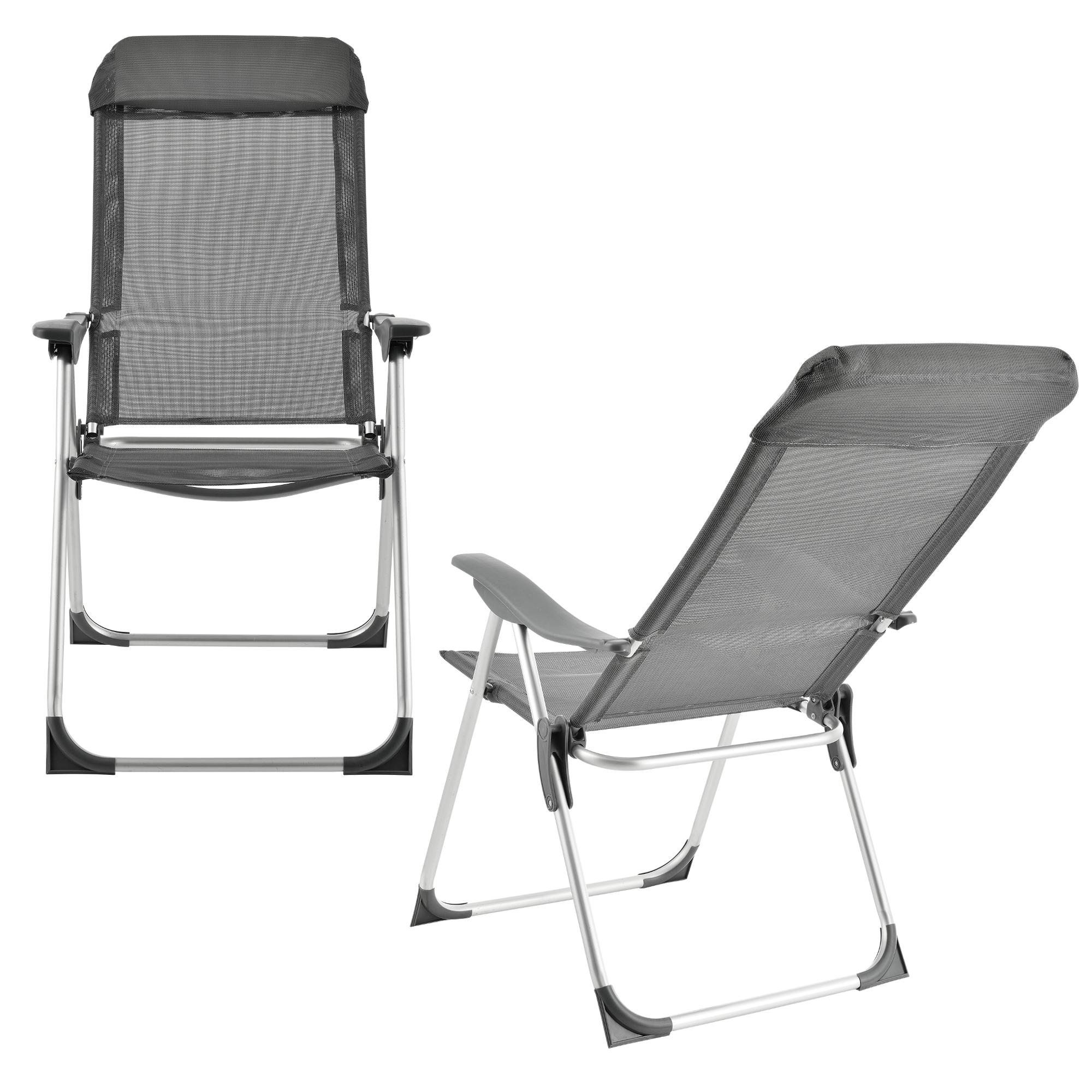 2x aluminium chaise de jardin camping pliante for Chaise de camping pliante