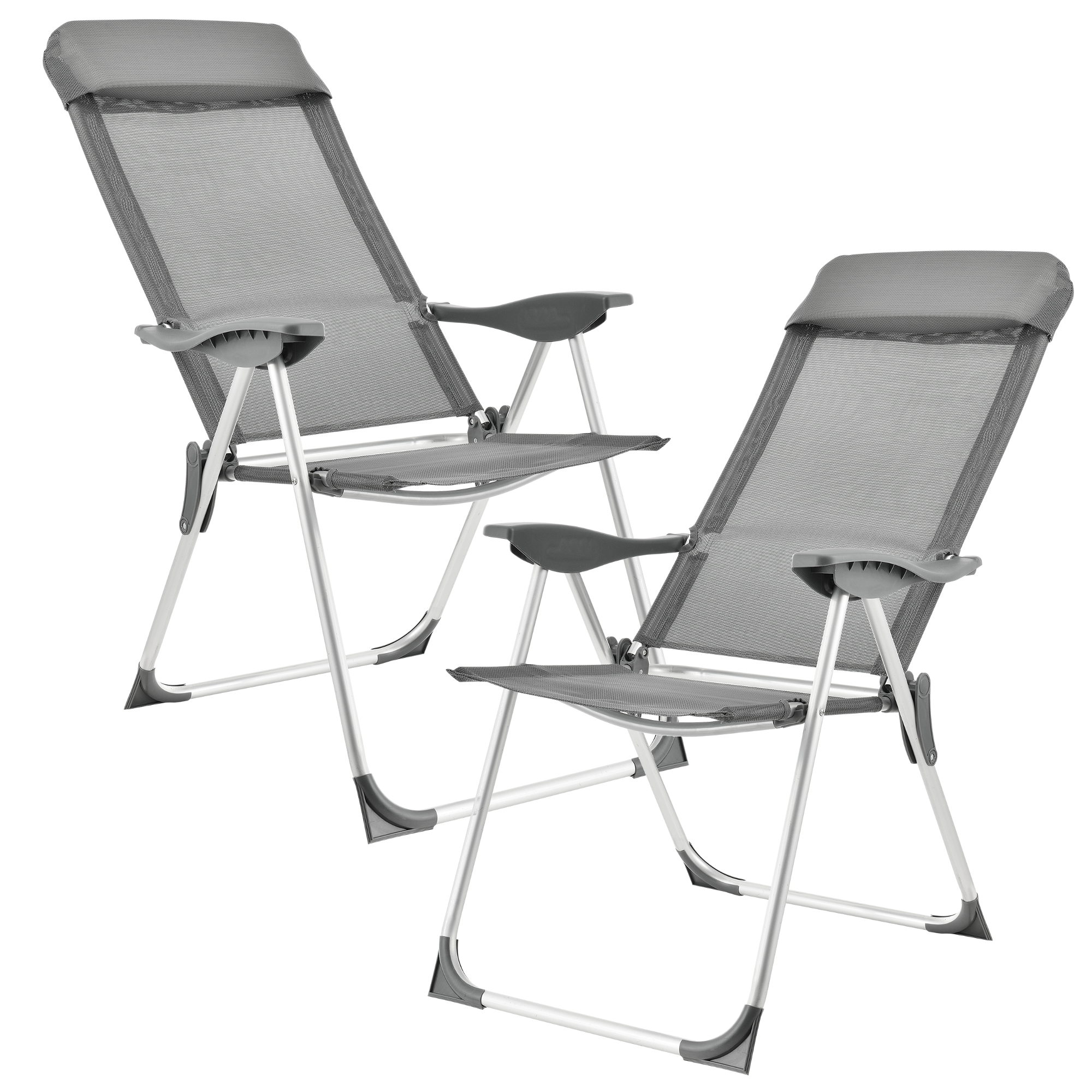 2x aluminium chaise de jardin camping pliante haute dos gris ebay. Black Bedroom Furniture Sets. Home Design Ideas