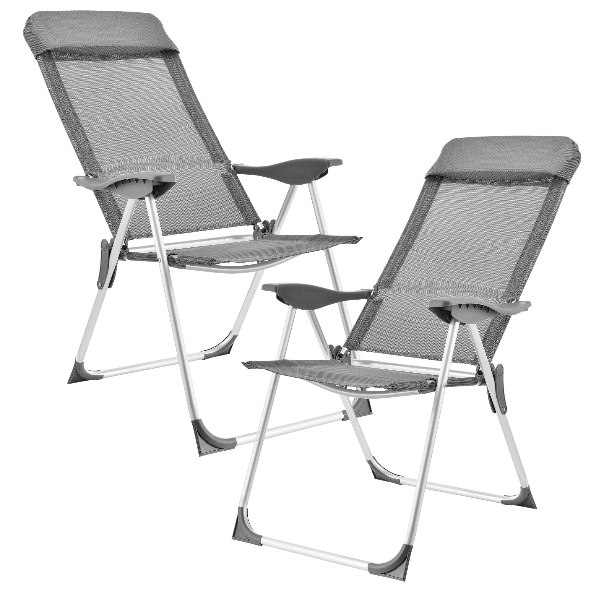 [casa.pro]® Campingové židle - rybářské křeslo set,108 x 58 cm,43 cm,tmavo šeda