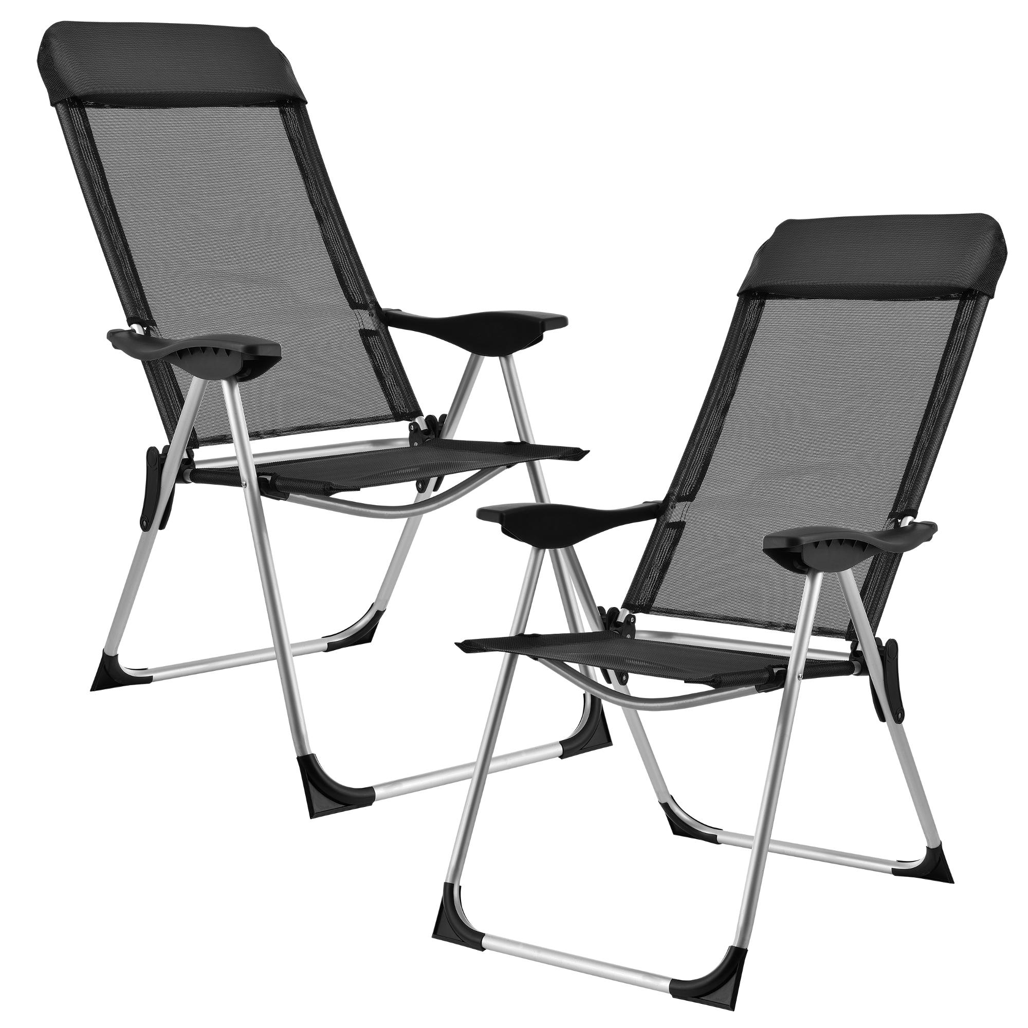 casa.pro]® Campingové židle - rybářské křeslo set,108 x 58 cm,43 cm,černá
