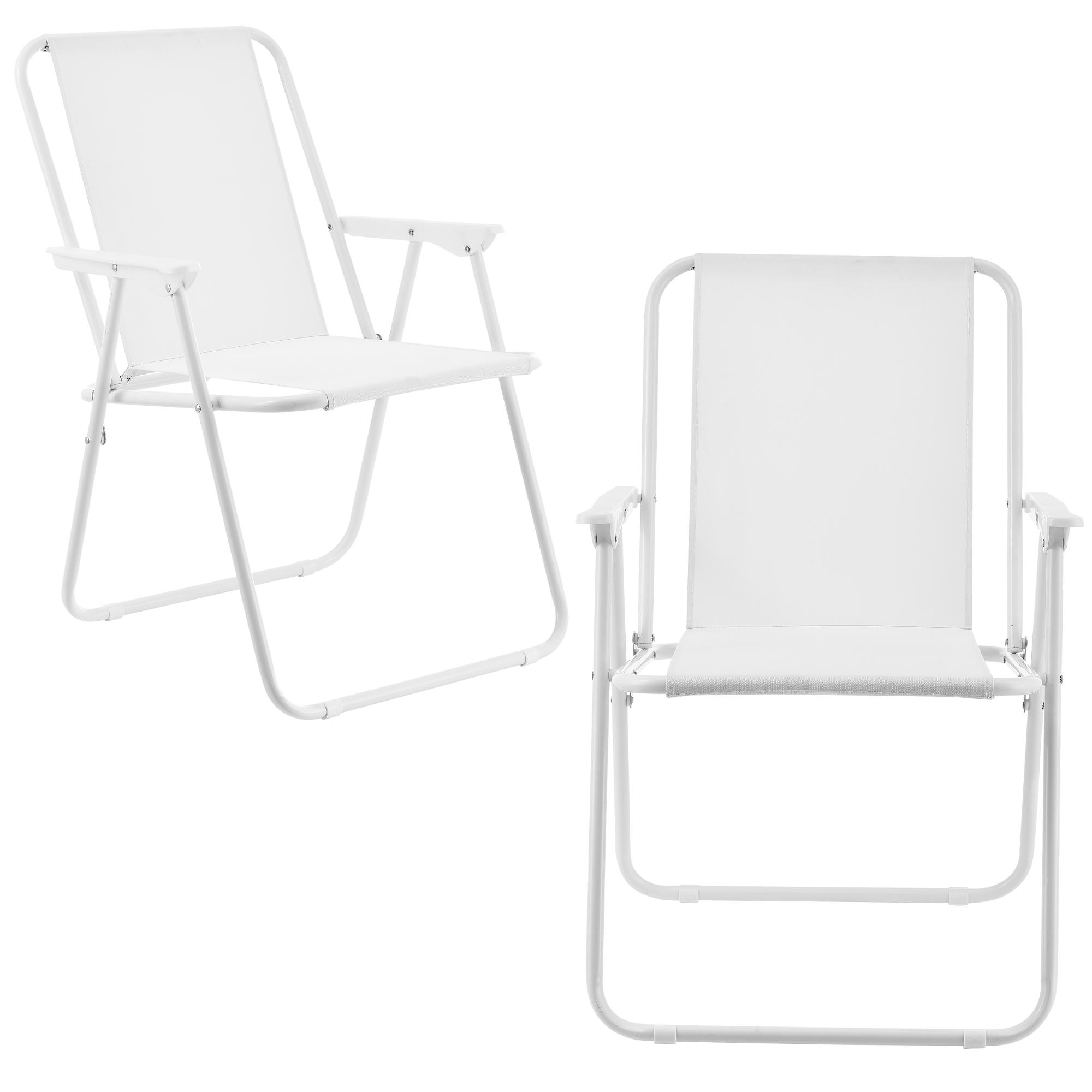 [casa.pro]® Camping židle - dvojité rybářské křeslo set,74 x 54 cm 31 x 37,5 cm,bilá