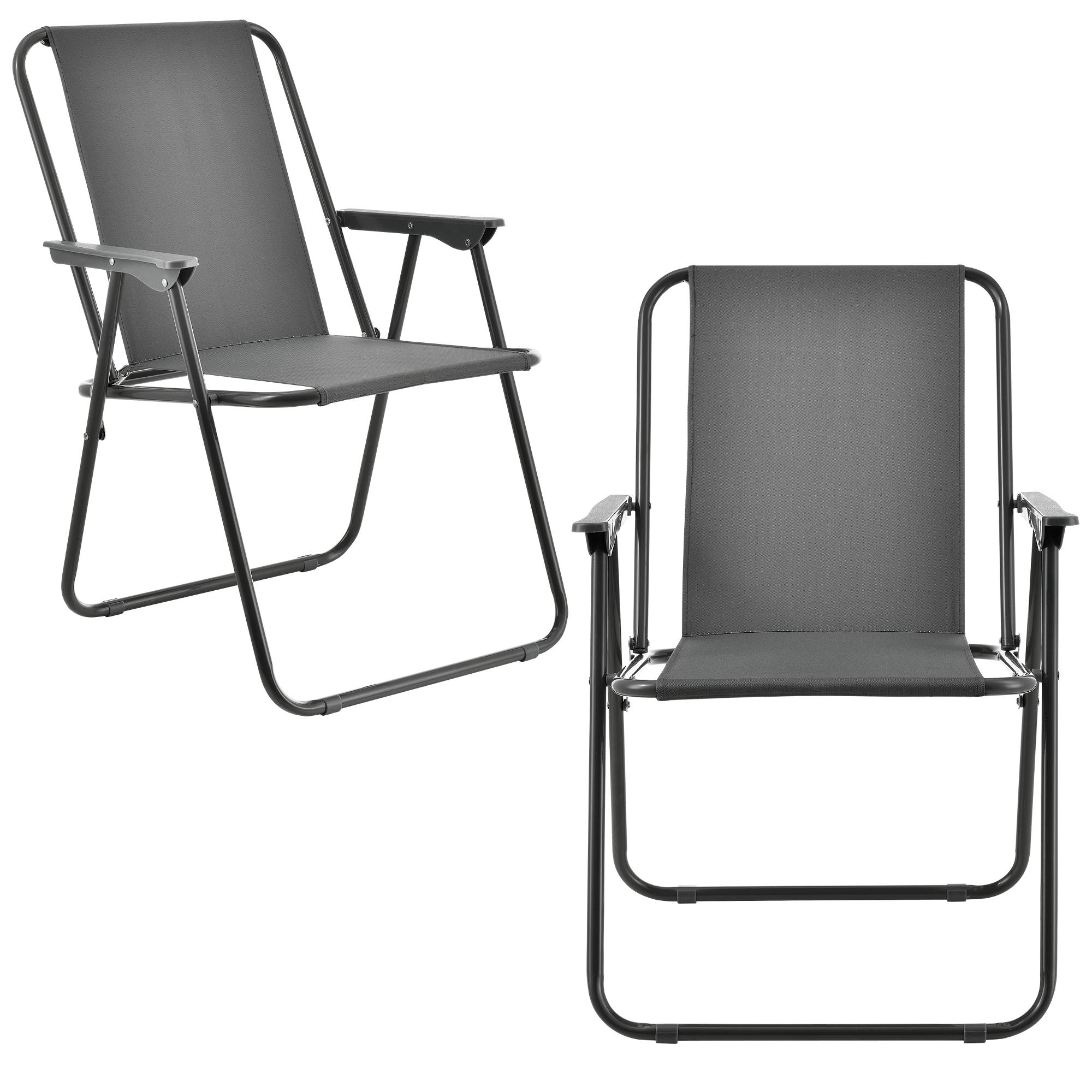 [casa.pro]® Camping židle - dvojité rybářské křeslo set,74 x 54 cm 31 x 37,5 cm,tmavo šedá