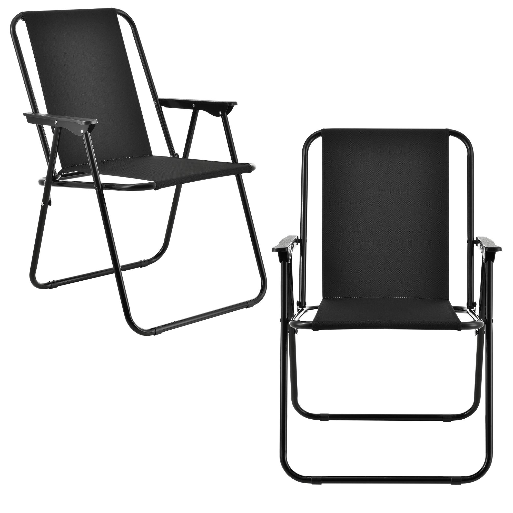 [casa.pro]® Camping židle - dvojité rybářské křeslo set,74 x 54 cm 31 x 37,5 cm,černá