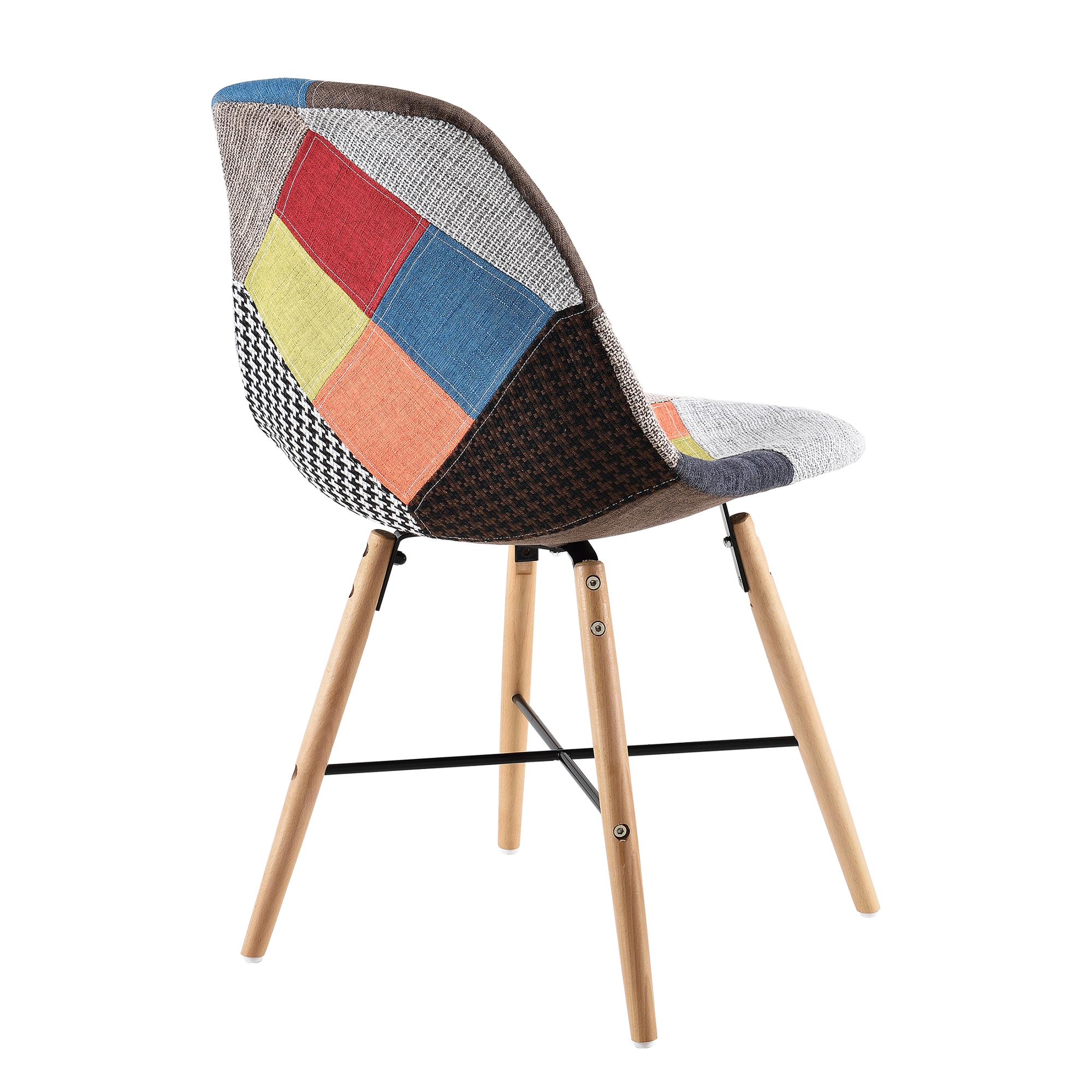 polstertuhl 2er set patchwork stuhl holz bunt design retro sessel ebay. Black Bedroom Furniture Sets. Home Design Ideas