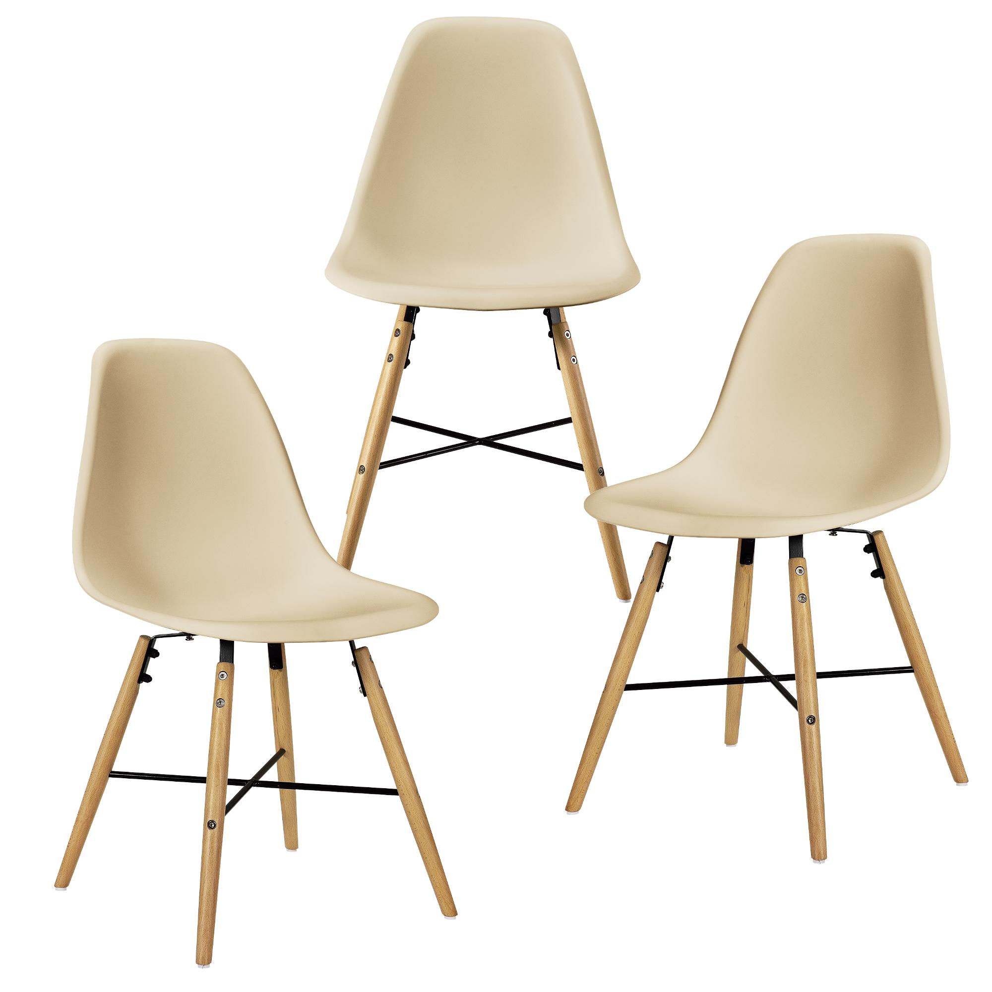Table de salle manger noir mit 3 chaises beige for Table salle manger 80 cm largeur