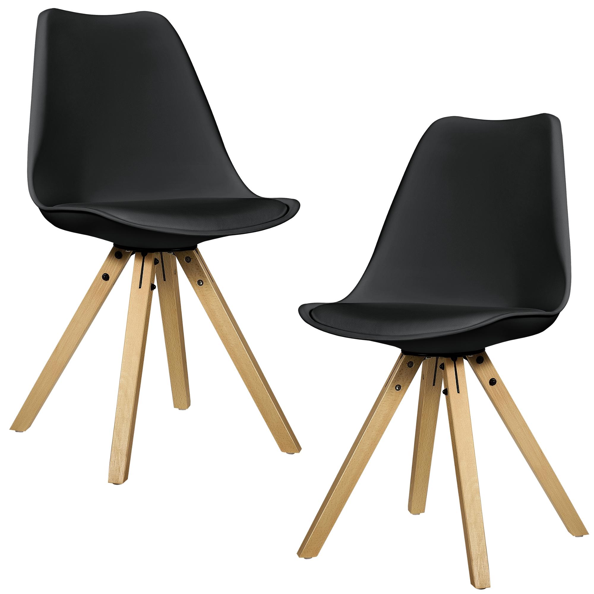 en.casa] 2x Design Stühle Esszimmer Stuhl Holz Kunststoff Kunst ...