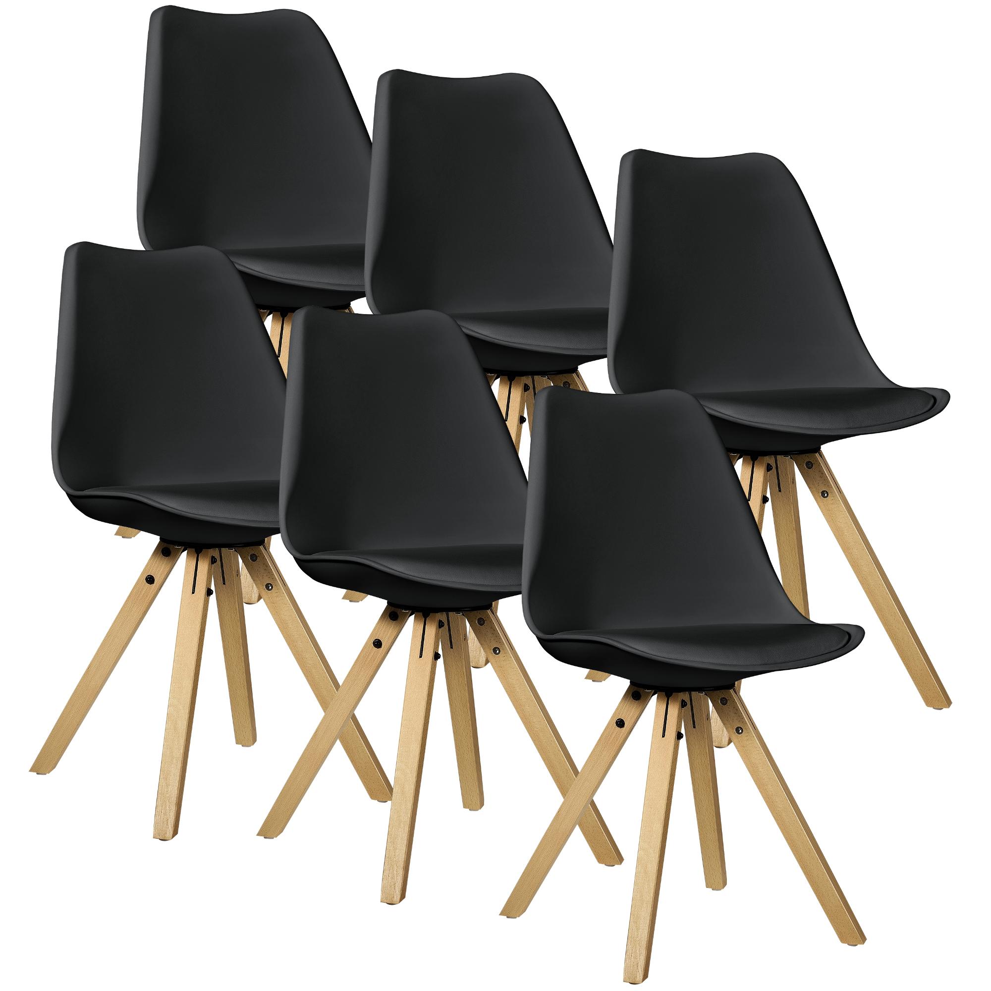 Fantastisch [en.casa] 6x Design Stühle Esszimmer Schwarz Stuhl Holz Plastik Kunst Leder  | EBay