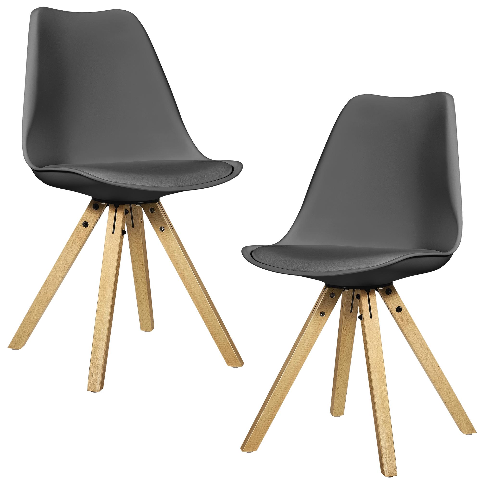 [EN Casa] 6x Design Chairs Dining Grey Chair Wood Plastic