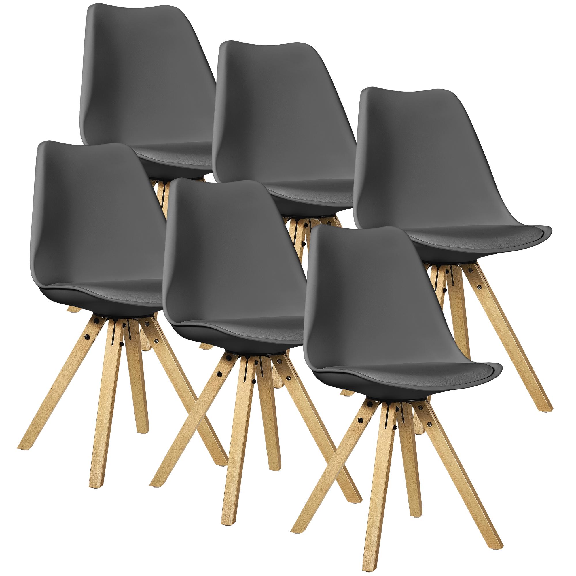 en.casa] 6x Design Stühle Esszimmer Grau Stuhl Holz Plastik Kunst ...