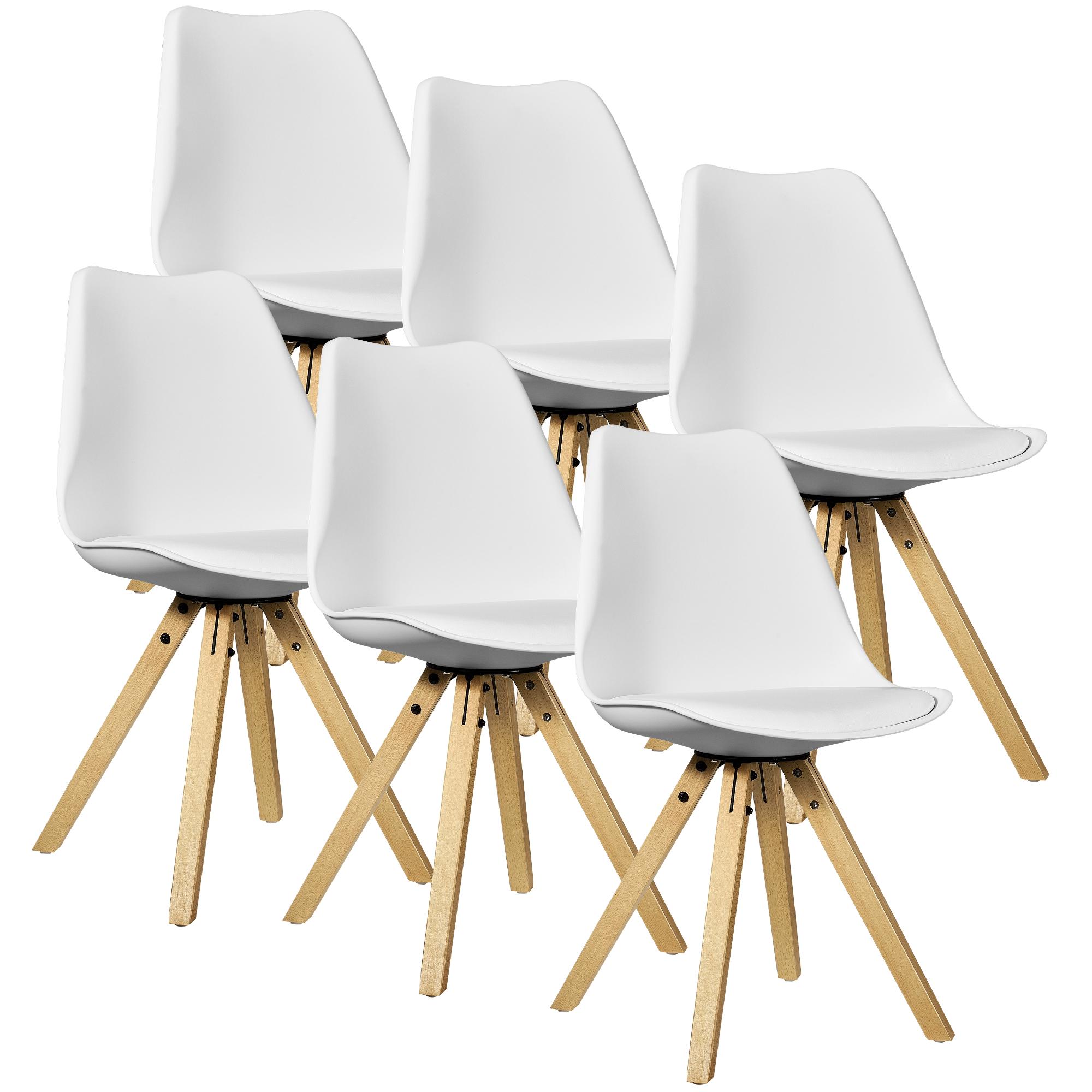 [en.casa] 6x Design Stühle Esszimmer Weiß Stuhl Holz Plastik Kunst Leder