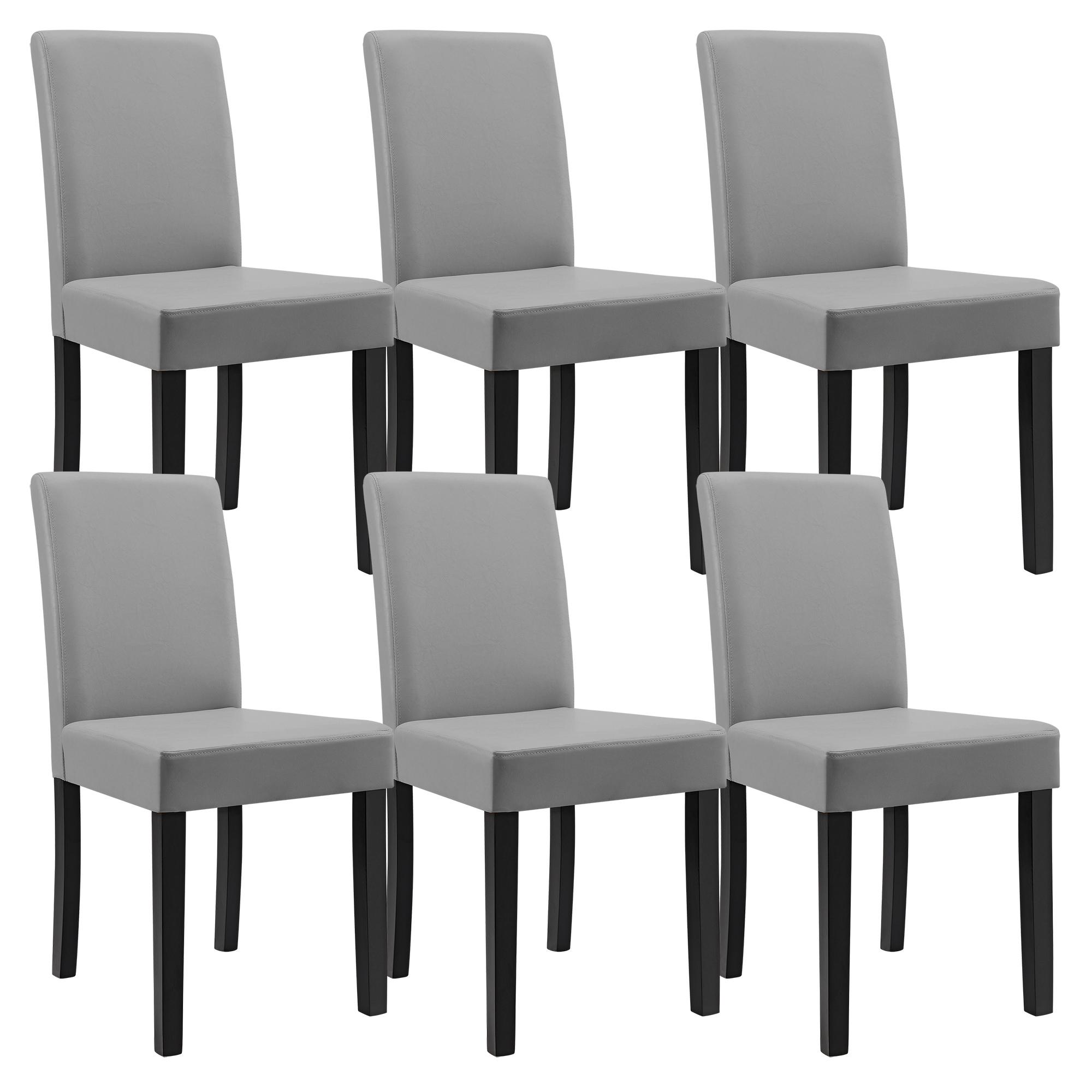 Table de salle manger ch ne blanc avec 6 chaises gris clair 140x90 - Table de salle a manger avec 6 chaises ...