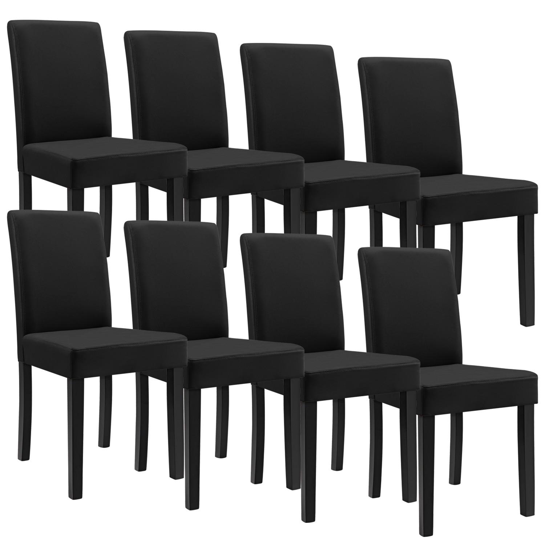 8x chaises dossier haut salle manger noir for Chaises salle manger cuir dossier haut