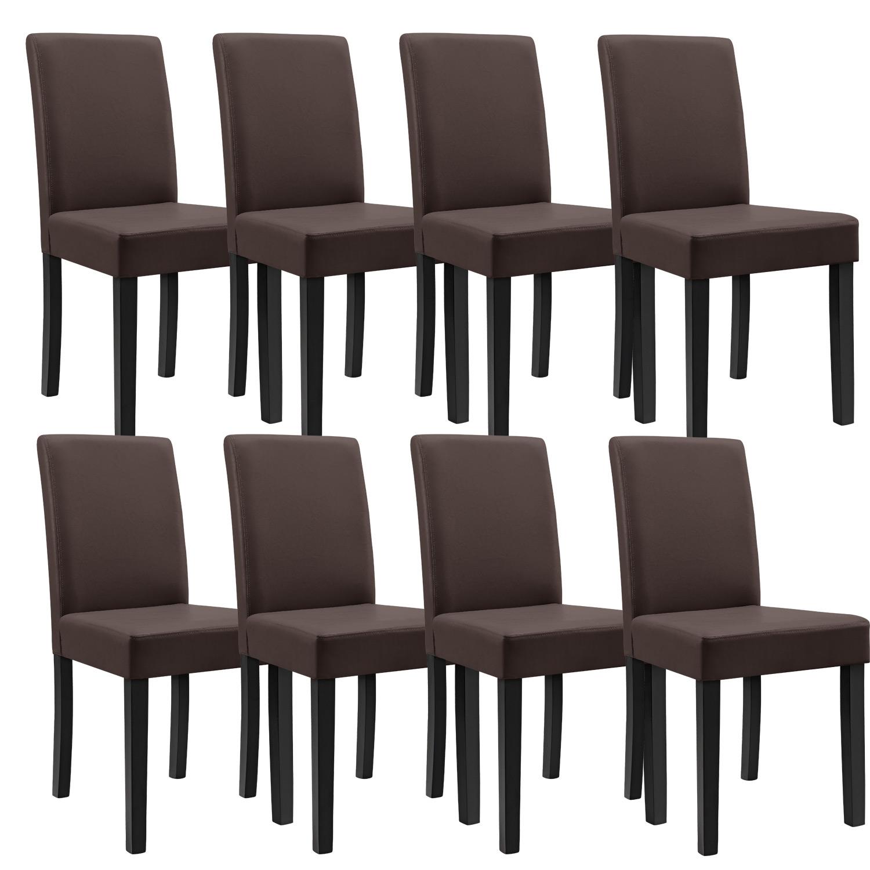 8x chaises dossier haut salle manger marron for Chaise de salle a manger haut dossier