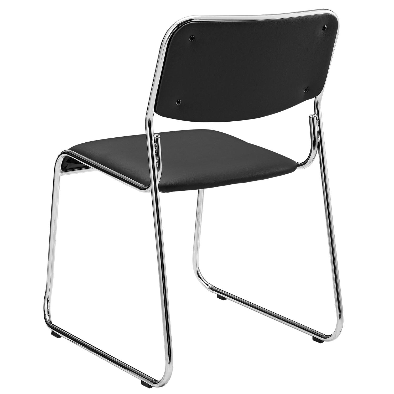 pro.tec ® Design Besucherstuhl Konferenzstuhl Grau Schwarz Büro Stuhl Office