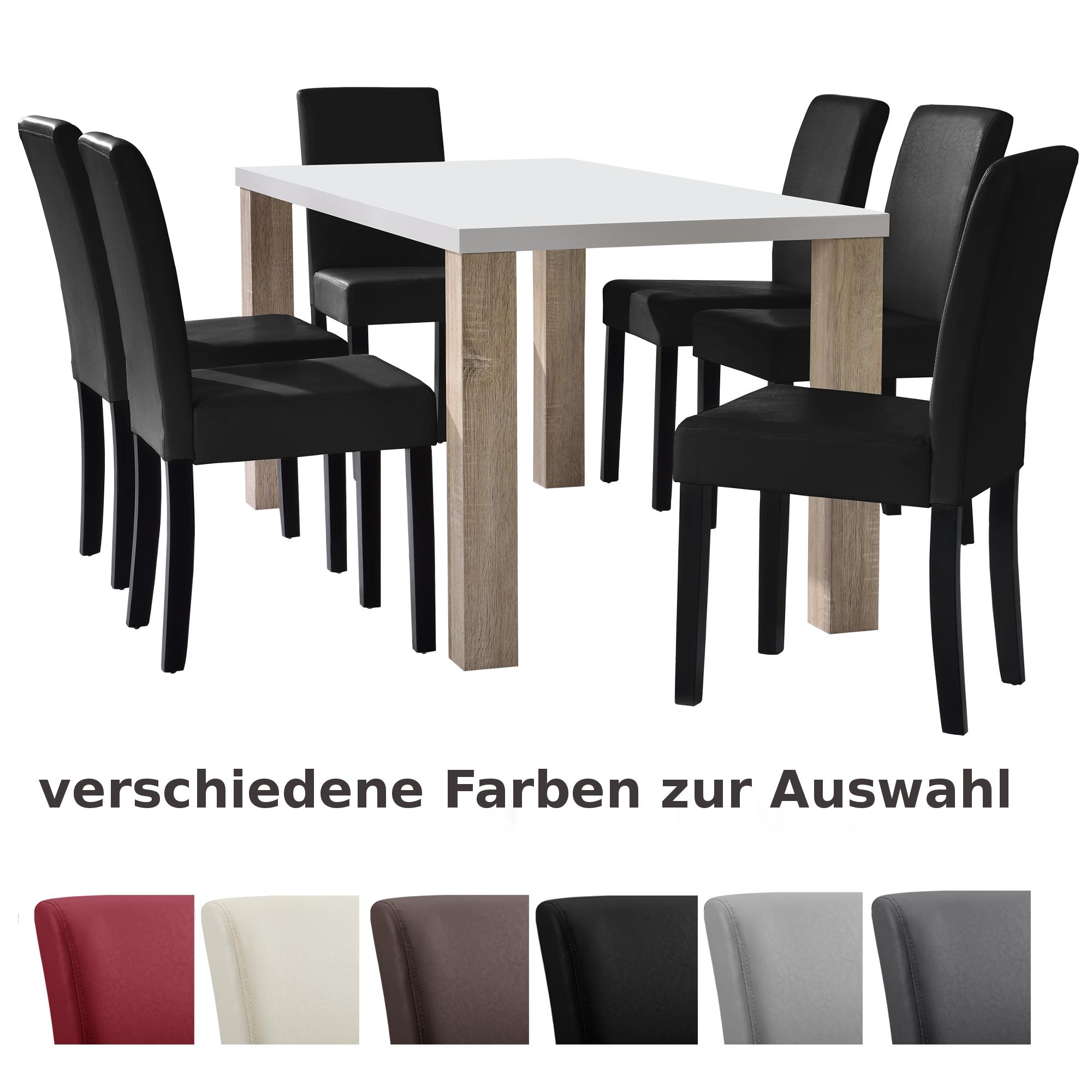 esstisch wei 160x90 mit 6er set st hle esszimmerset tischgruppe stuhl ebay. Black Bedroom Furniture Sets. Home Design Ideas