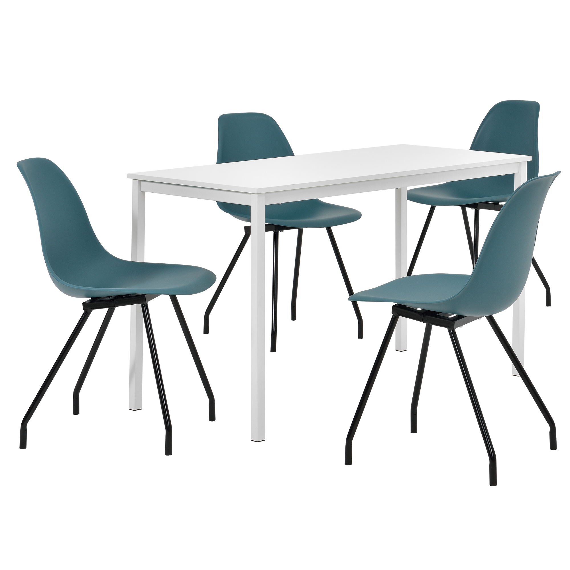 table manger 4 chaises blanc turquoise. Black Bedroom Furniture Sets. Home Design Ideas