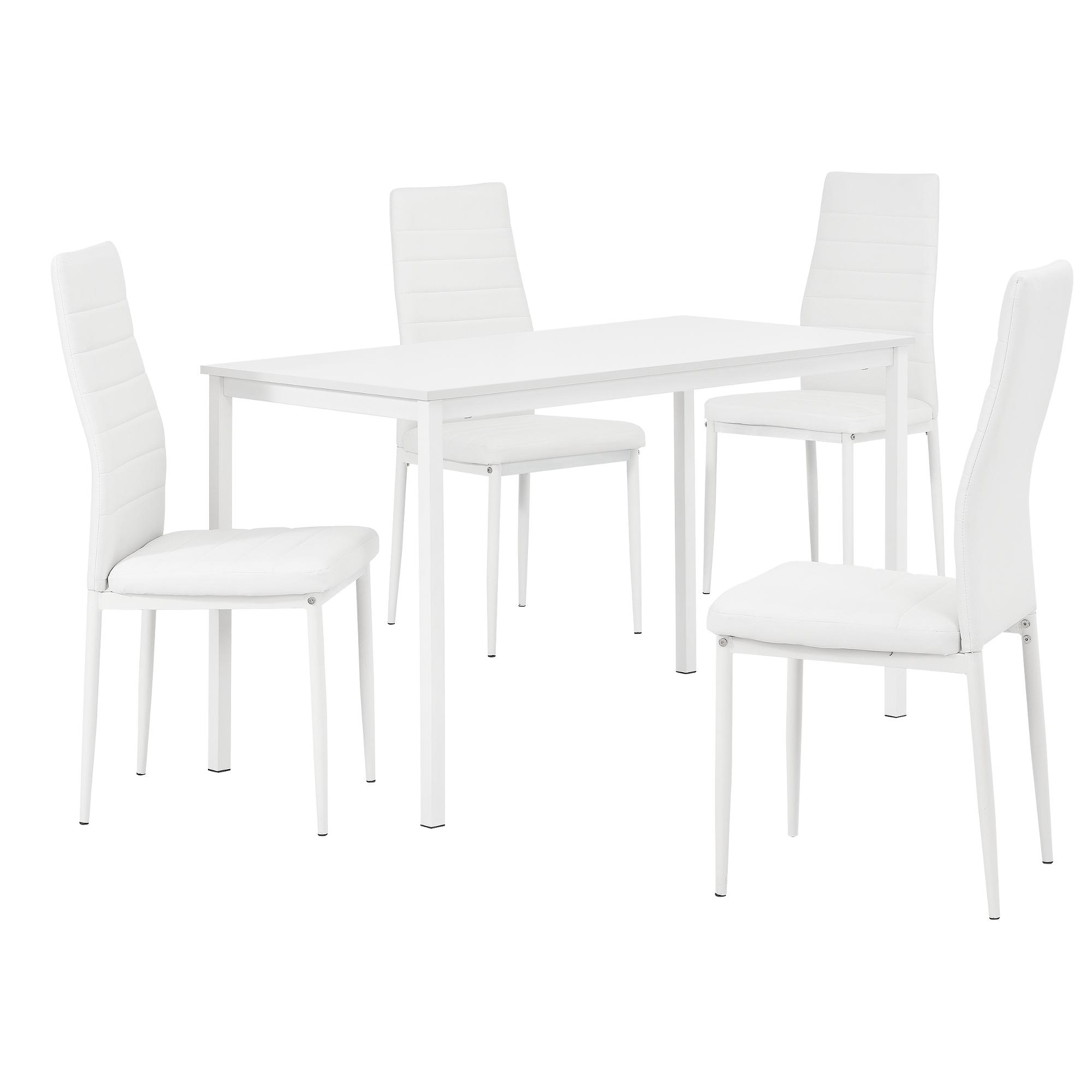 Esstisch mit 4 Stühlen weiß 120x60cm Küchentisch Esszimmertisch | eBay
