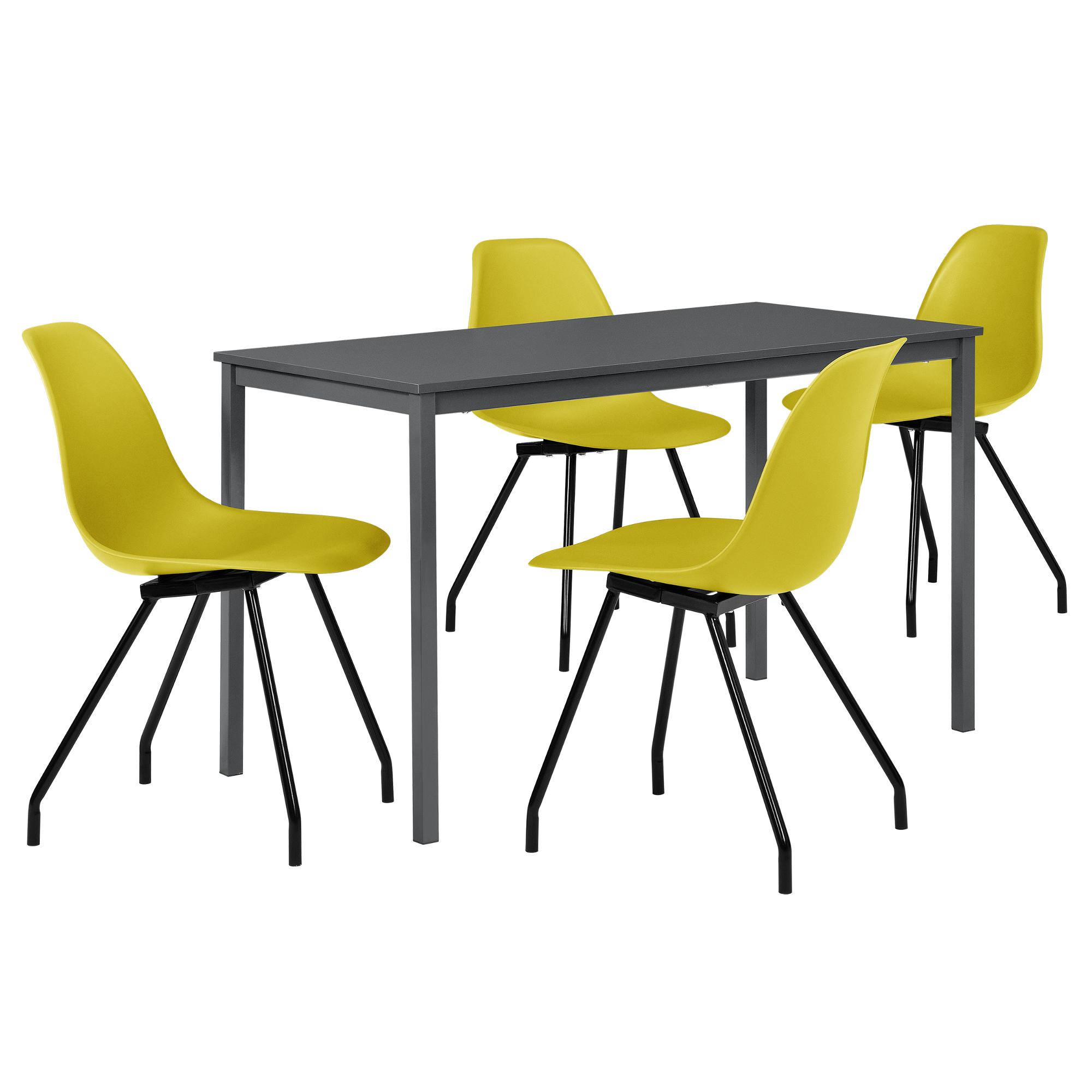 Esstisch mit 4 st hlen grau senffarben 120x60cm for Zimmer tisch