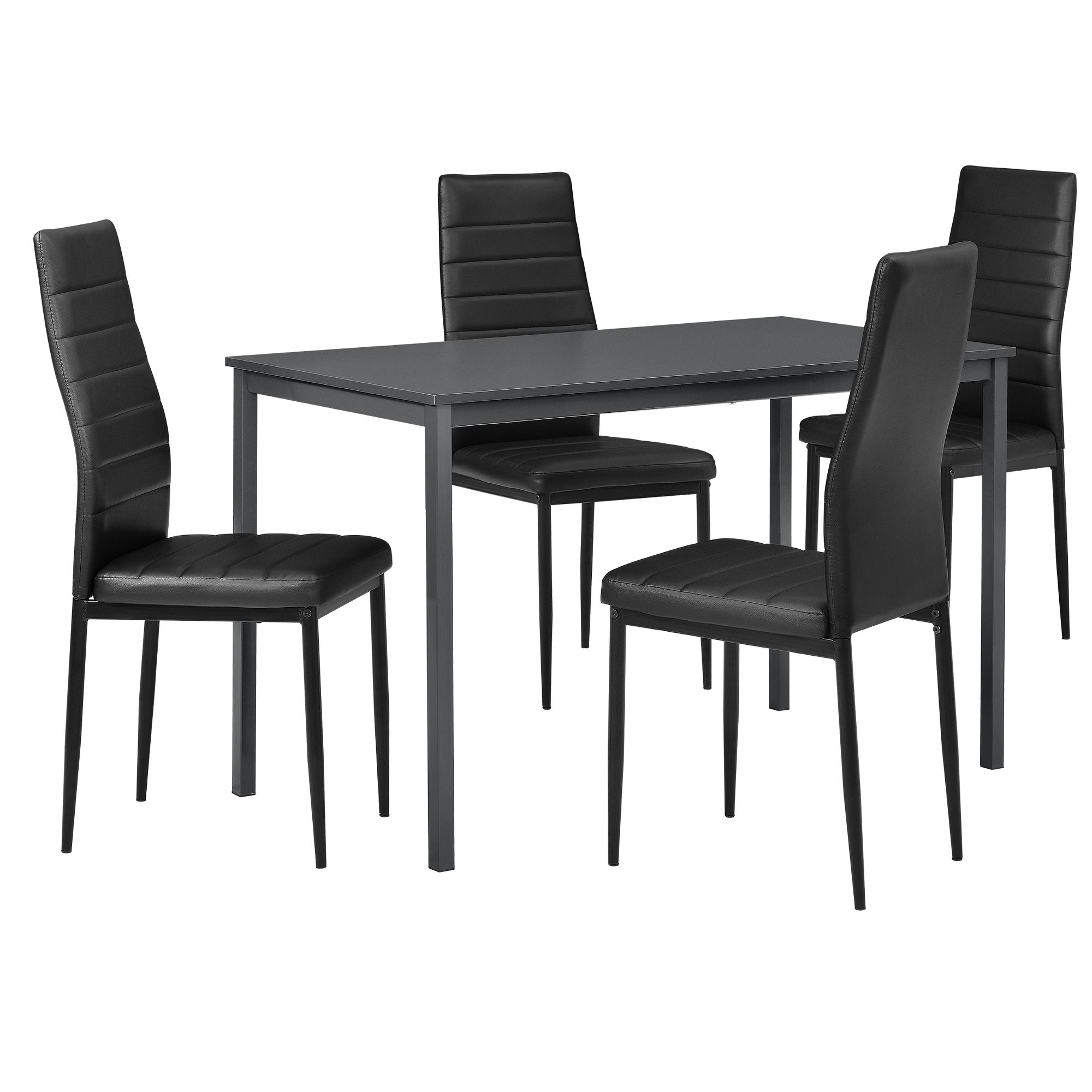 en.casa]® Table à manger + 4 chaise gris/noir 120x60cm table de ...
