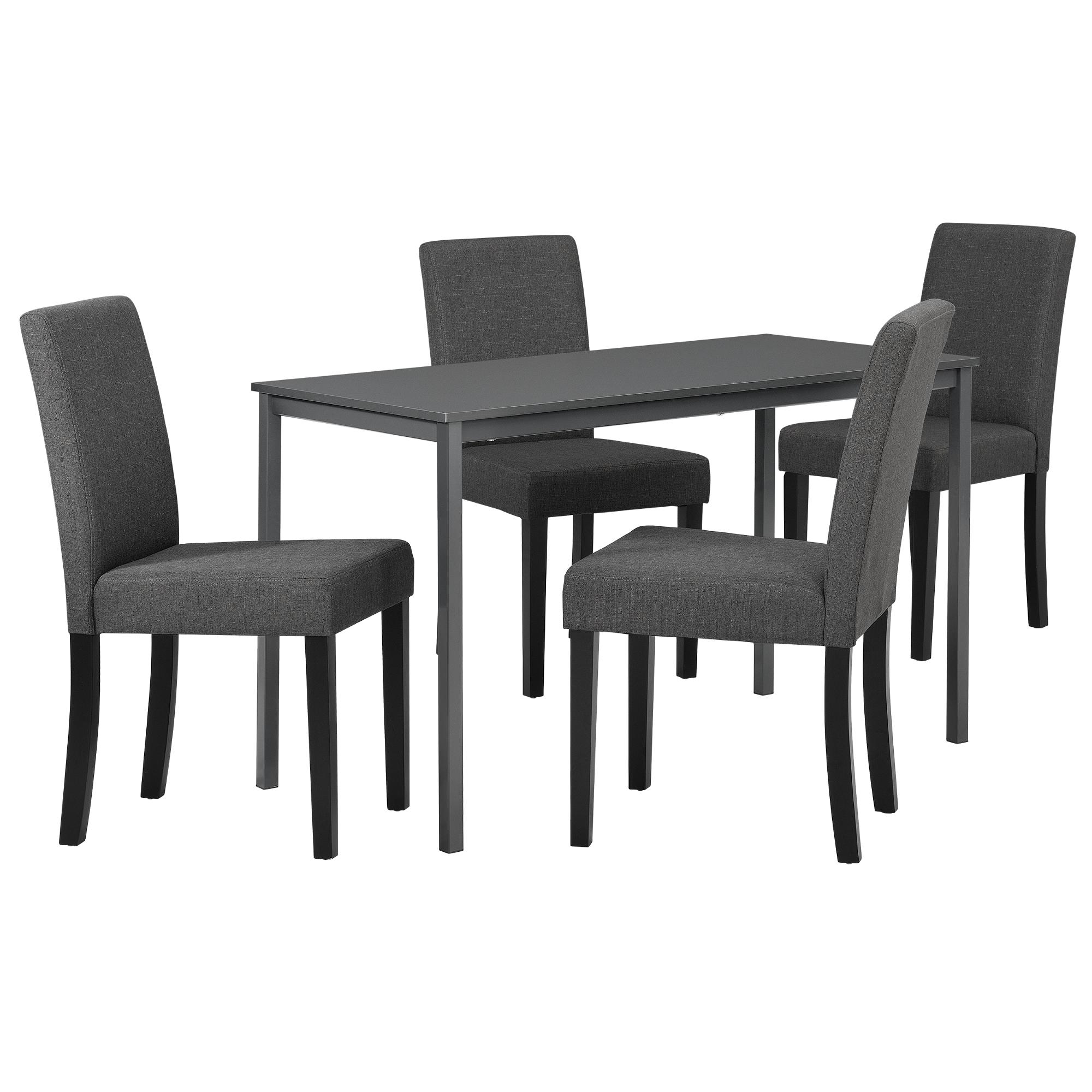 Mesa de Comedor con 4 Sillas Gris Oscuro 120x60cm | eBay