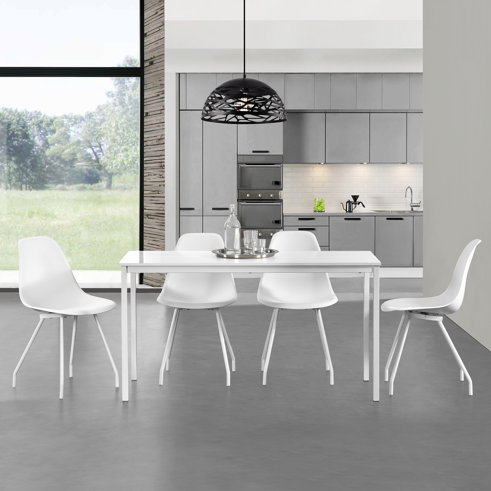 table manger 4 chaises blanc 120x60cm. Black Bedroom Furniture Sets. Home Design Ideas