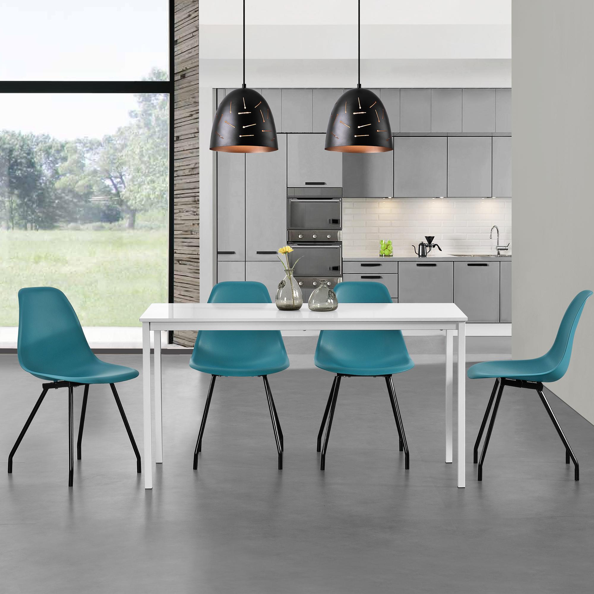 esstisch mit 4 st hlen wei t rkis 120x60cm k chentisch esszimmertisch ebay. Black Bedroom Furniture Sets. Home Design Ideas