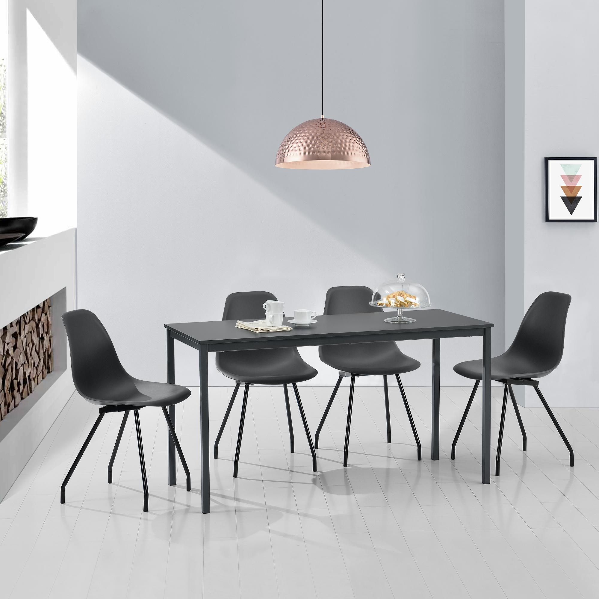 Mesa de Comedor con 4 Sillas Gris Oscuro 140x60cm Mesa de Cocina ...