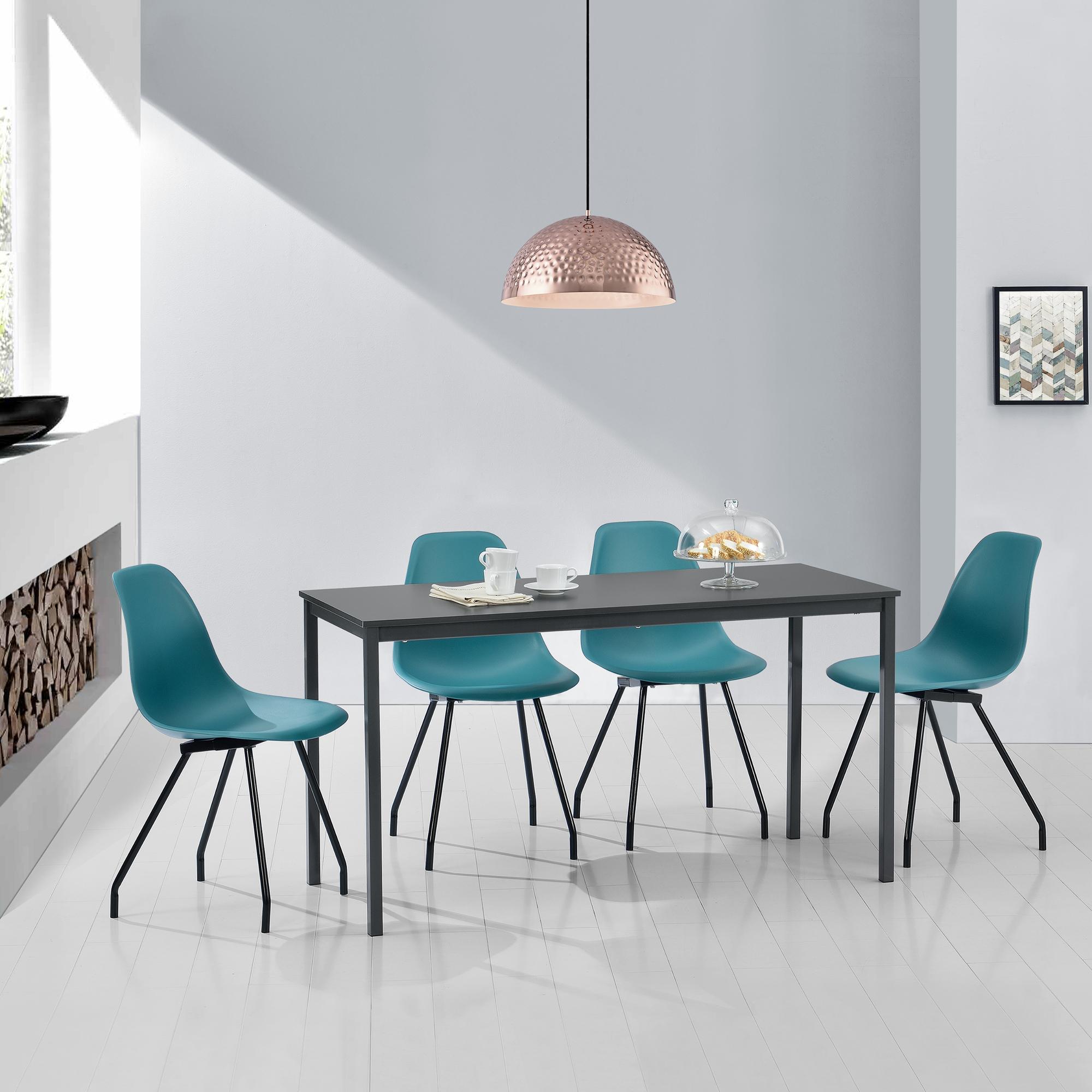 en.casa] Esstisch mit 4 Stühlen grau/türkis 120x60cm Küchentisch ...