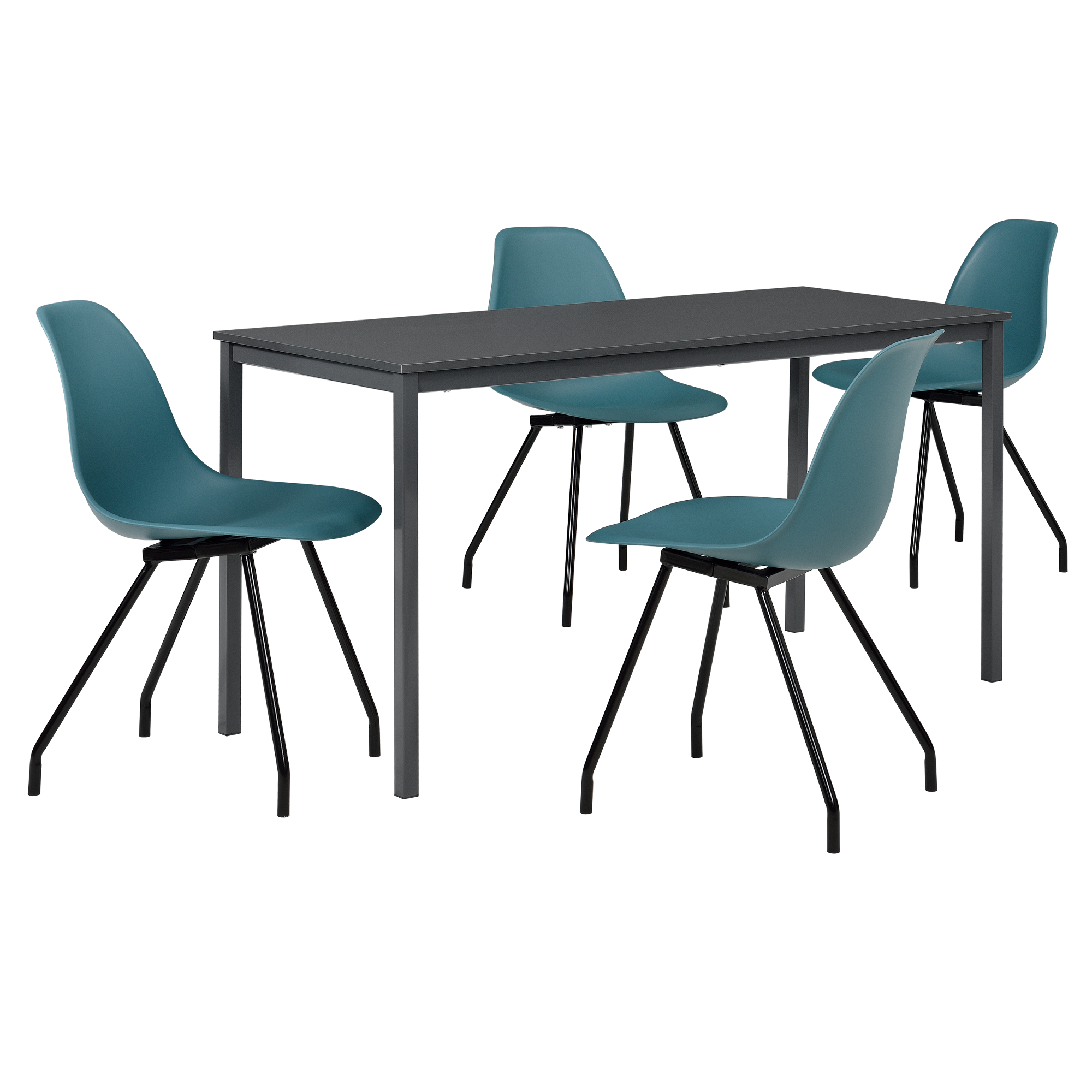 Mesa de comedor con 4 sillas gris turquesa for Sillas comedor turquesa
