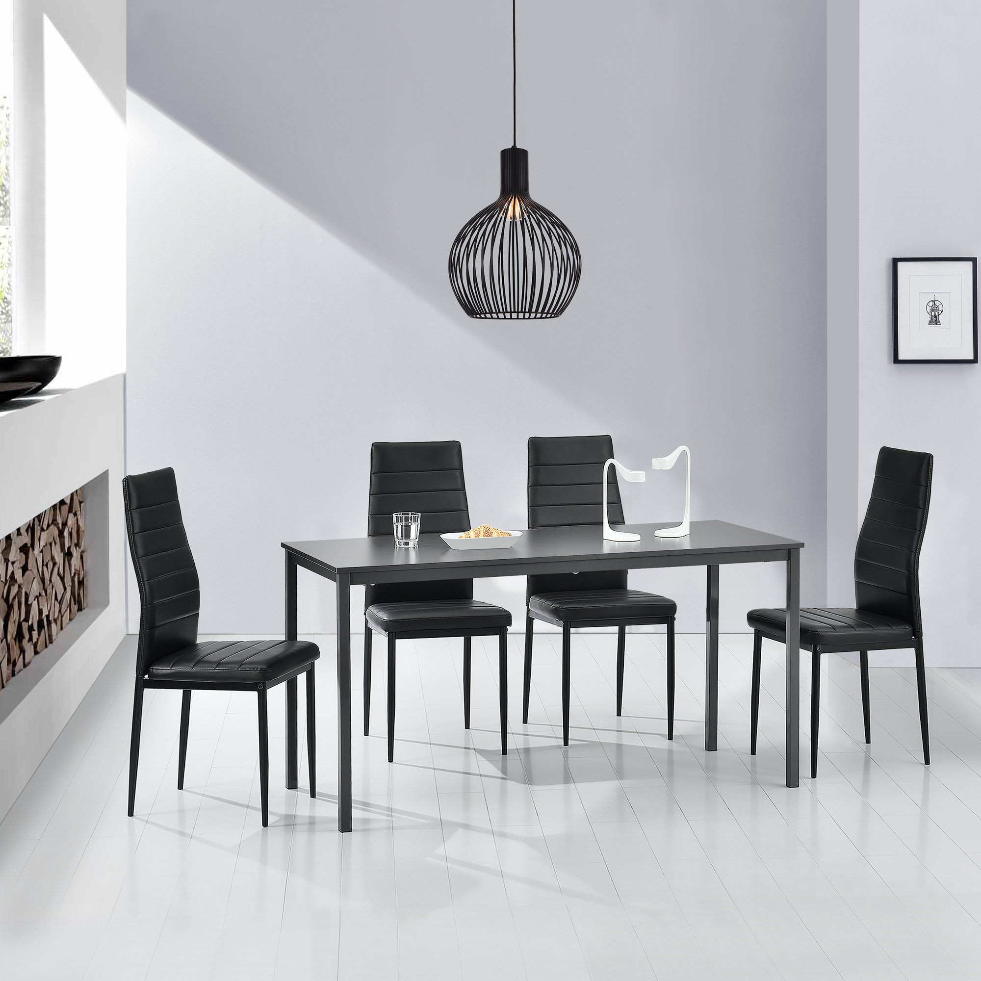 en.casa]® Table à manger + 4 chaise gris/noir 120x60cm table de ...