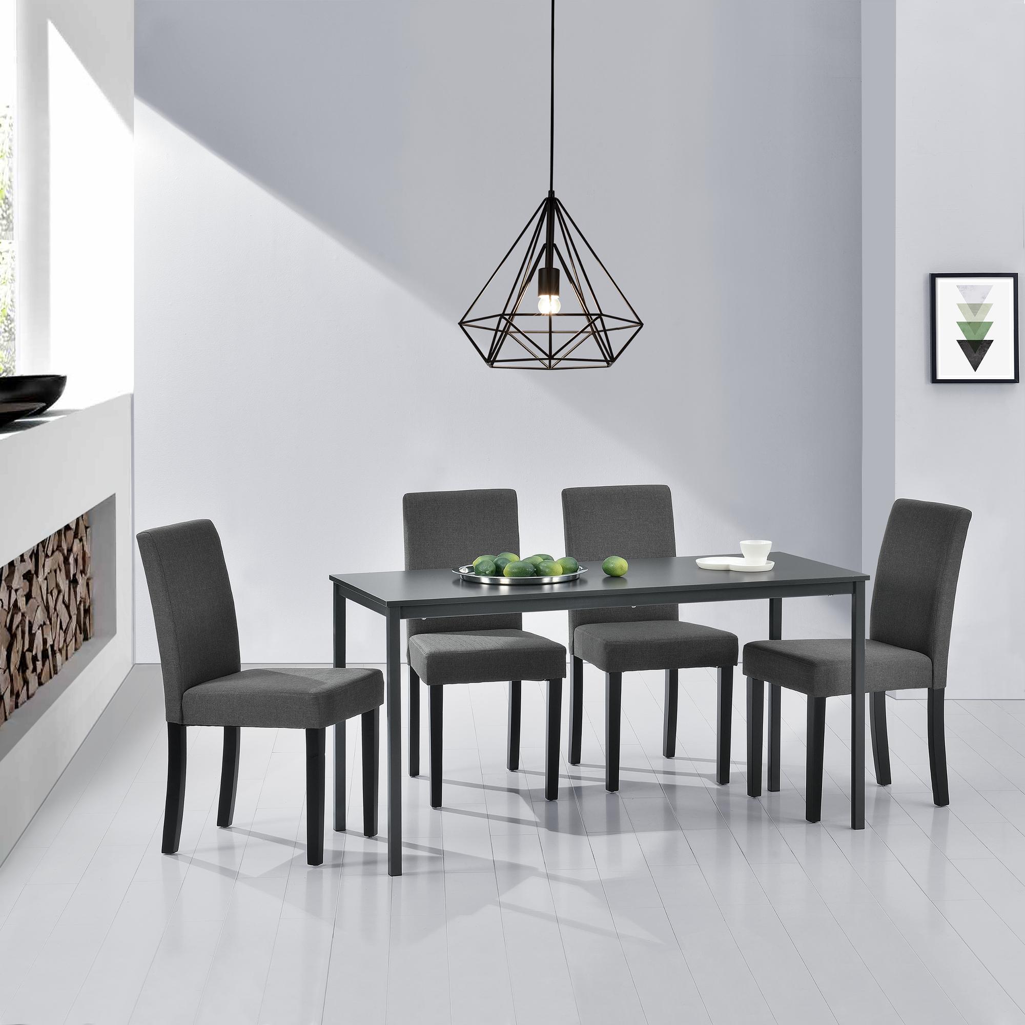 Tavolo Cucina 4 Sedie.En Casa Tavolo Da Pranzo 4 Sedie Grigie Scure 140x60cm Tavolo