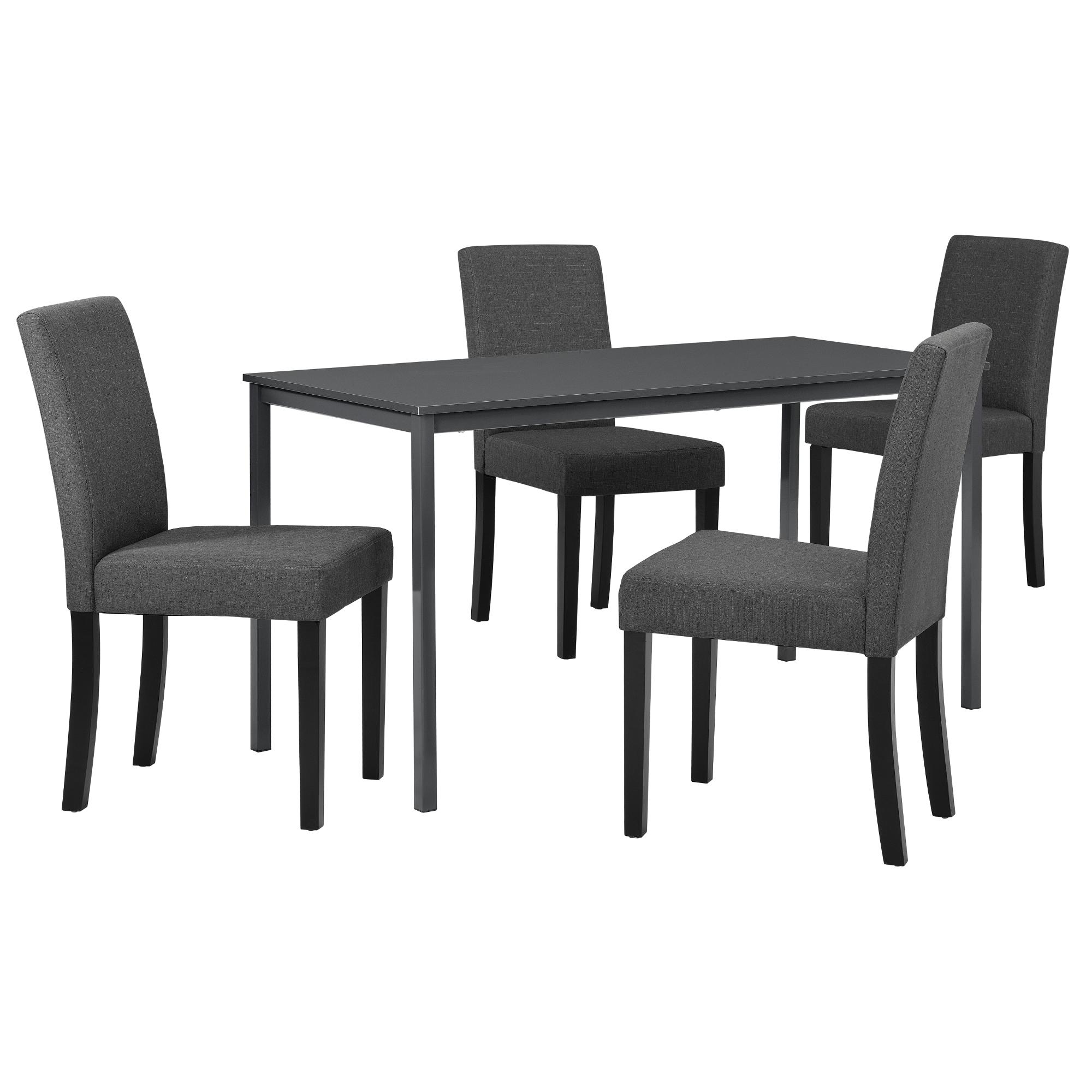 Esstisch Mit 4 Stühlen Dunkelgrau 140x60cm Küchentisch
