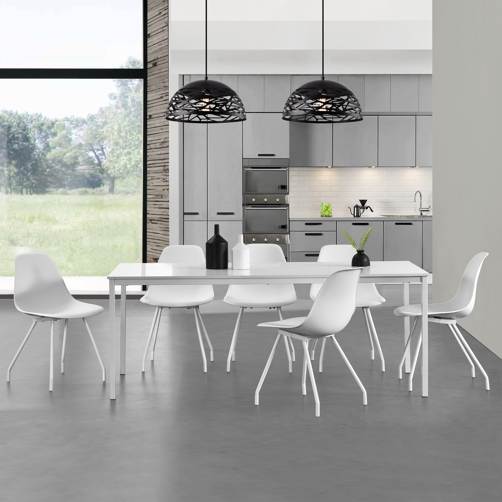 esstisch mit 6 st hlen wei 160x80cm k chentisch esszimmertisch 4059438105678 ebay. Black Bedroom Furniture Sets. Home Design Ideas