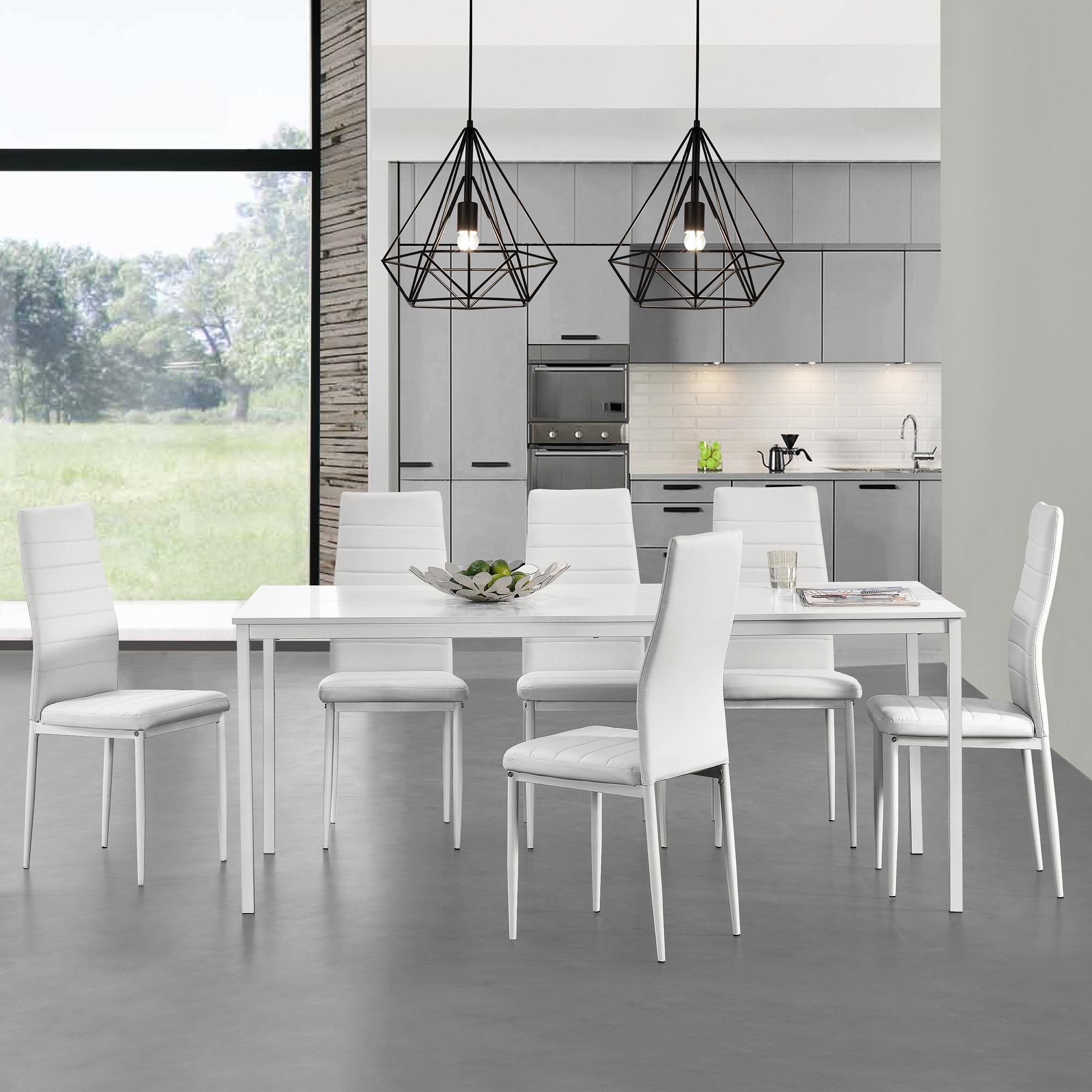 Esstisch mit 6 Stühlen weiß 180x80cm Küchentisch Esszimmertisch | eBay