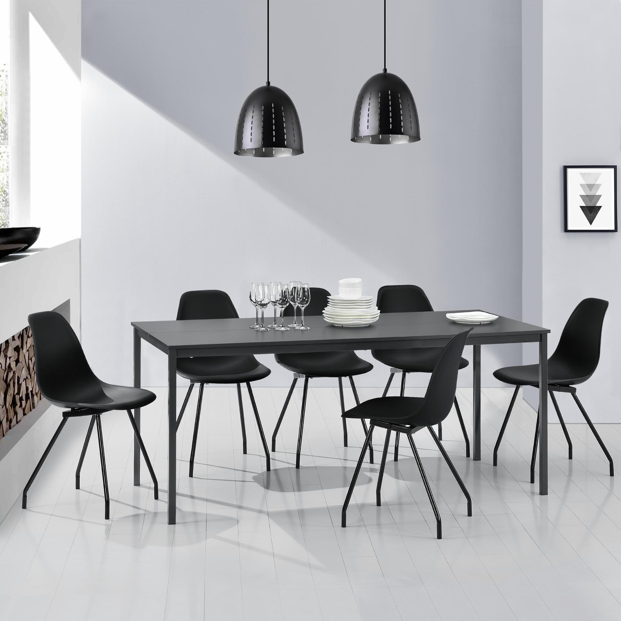 Esstisch + 6 Stühle grau/schwarz 180x80cm Küchentisch Esszimmertisch ...
