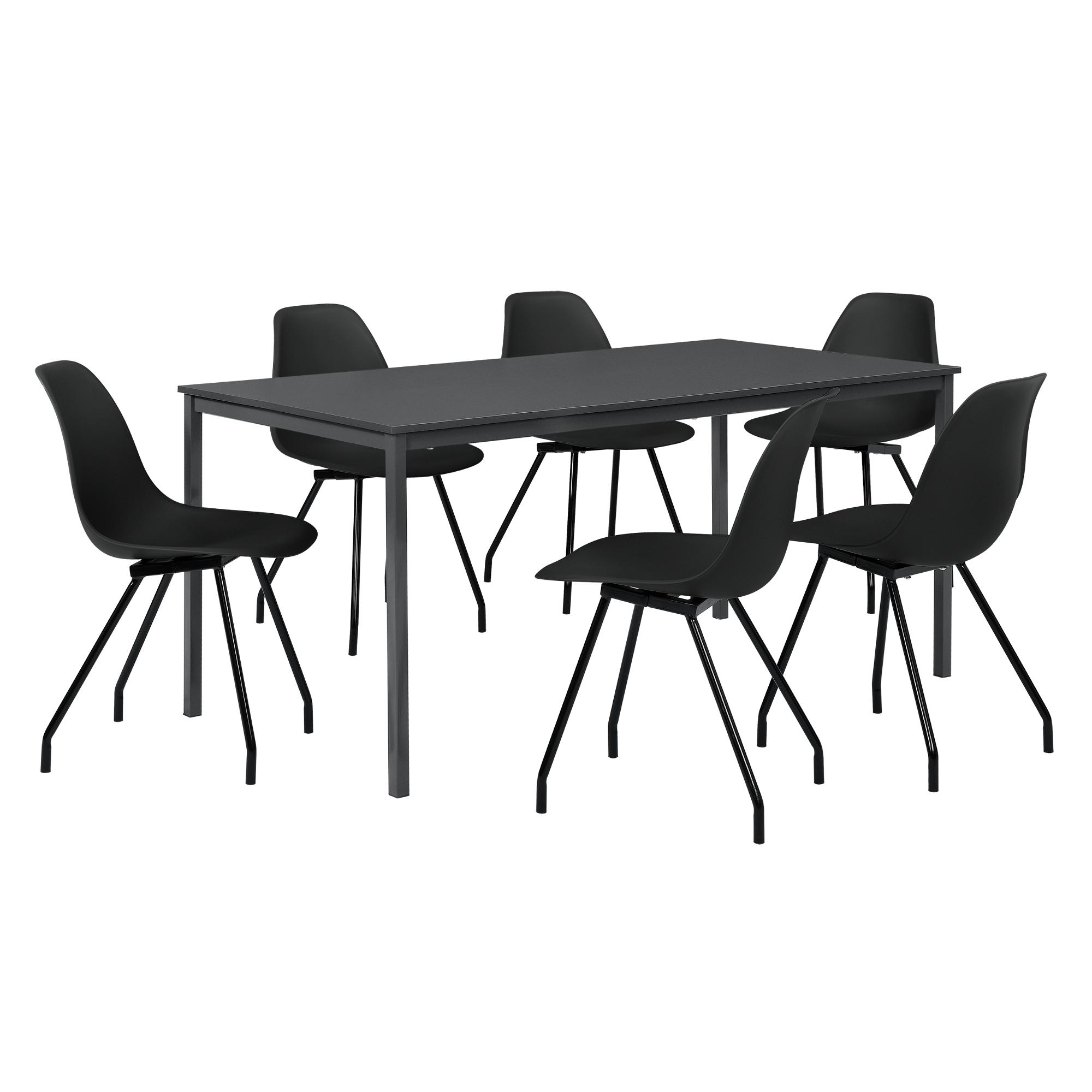 [ensa] Esstisch 6 Stühle Grau Schwarz 180x80cm
