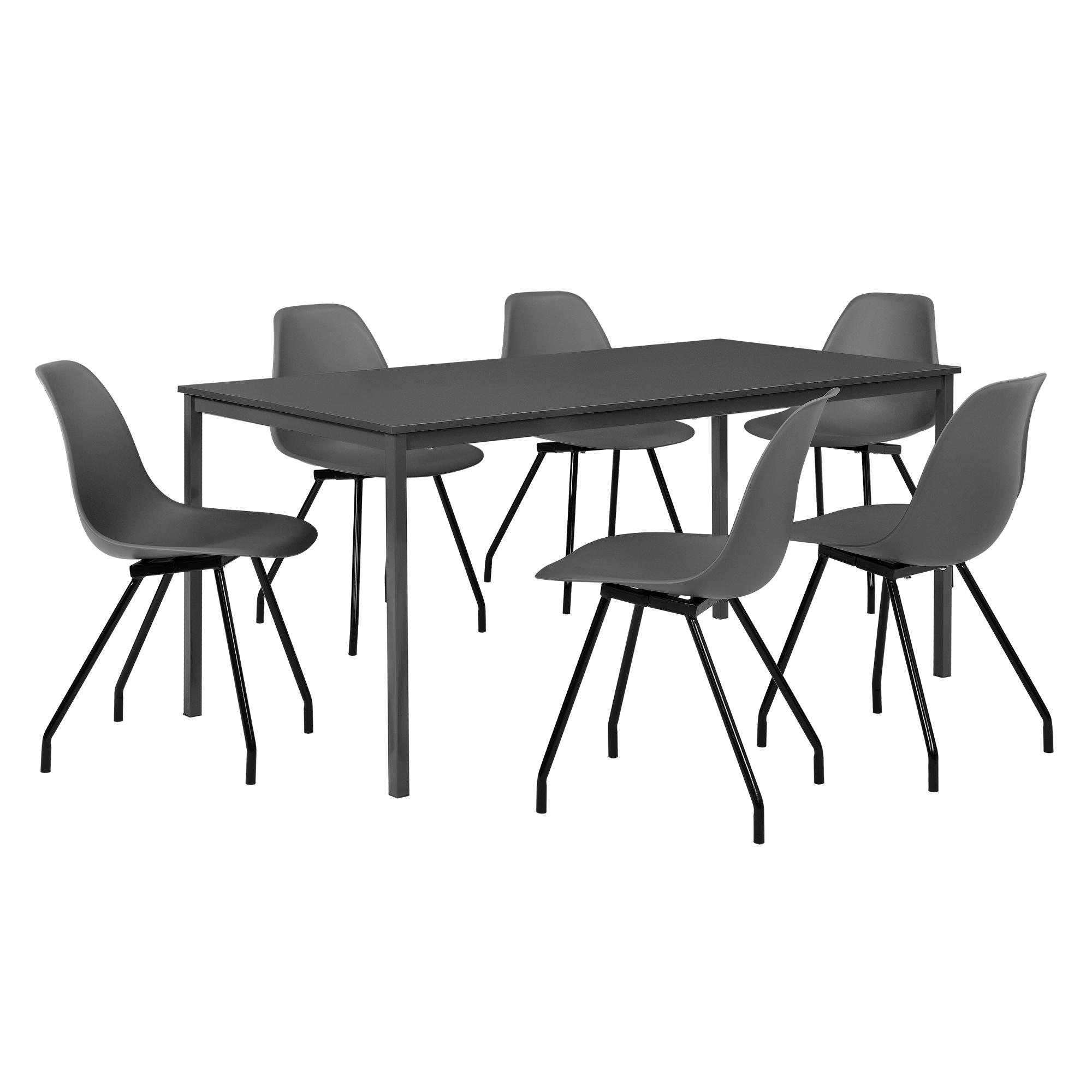 Esstisch mit 6 Stühlen dunkelgrau 180x80cm Küchentisch ...