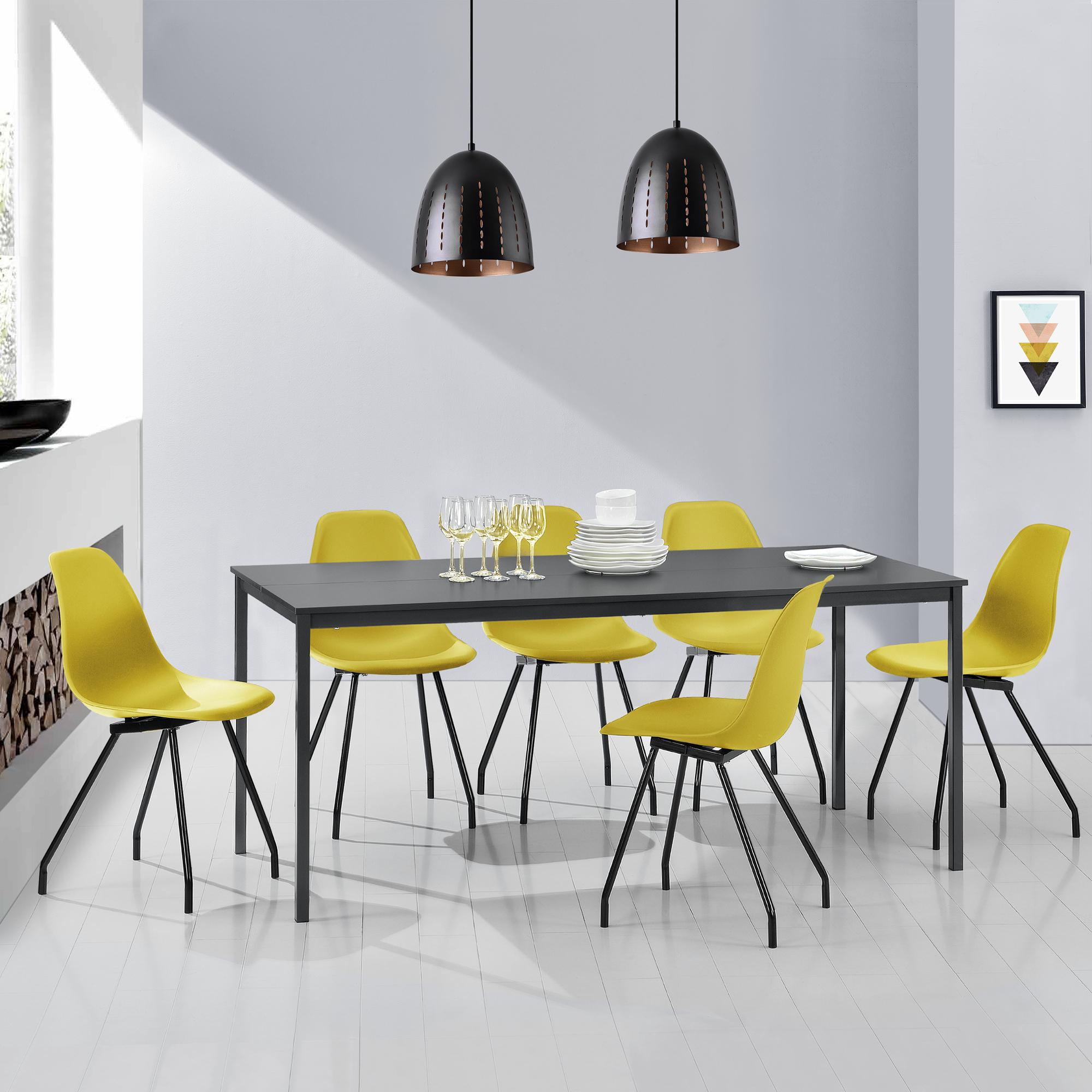 esstisch mit 6 st hlen grau senffarben 180x80cm k chentisch esszimmer ebay. Black Bedroom Furniture Sets. Home Design Ideas