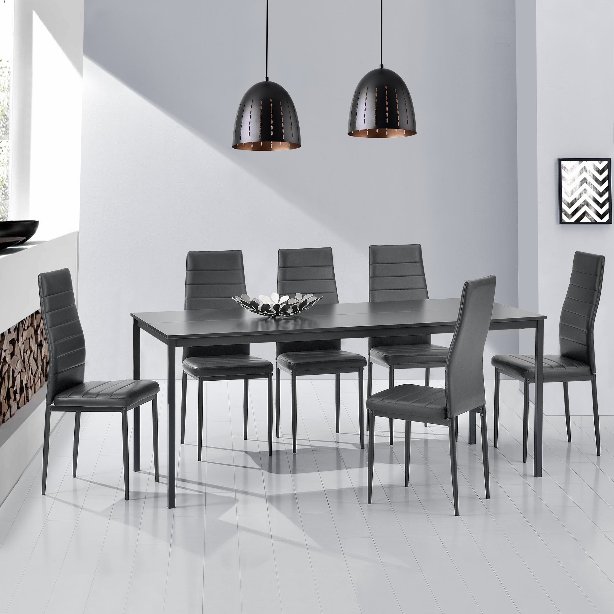 table de salle manger 6 chaises gris fonc. Black Bedroom Furniture Sets. Home Design Ideas
