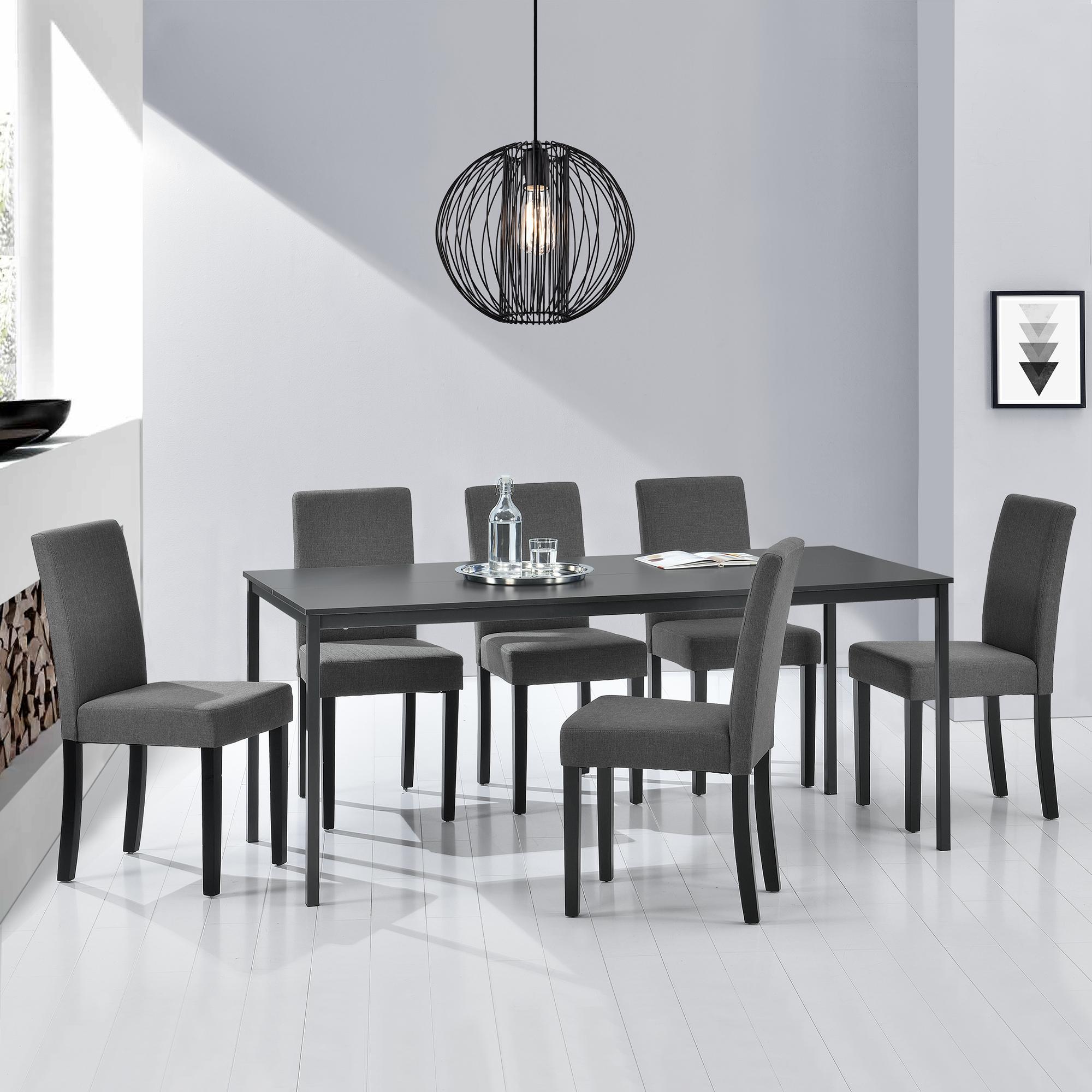 Détails sur [en.casa]® Table de salle à manger + 6 chaises gris foncé  160x80cm cuisine table