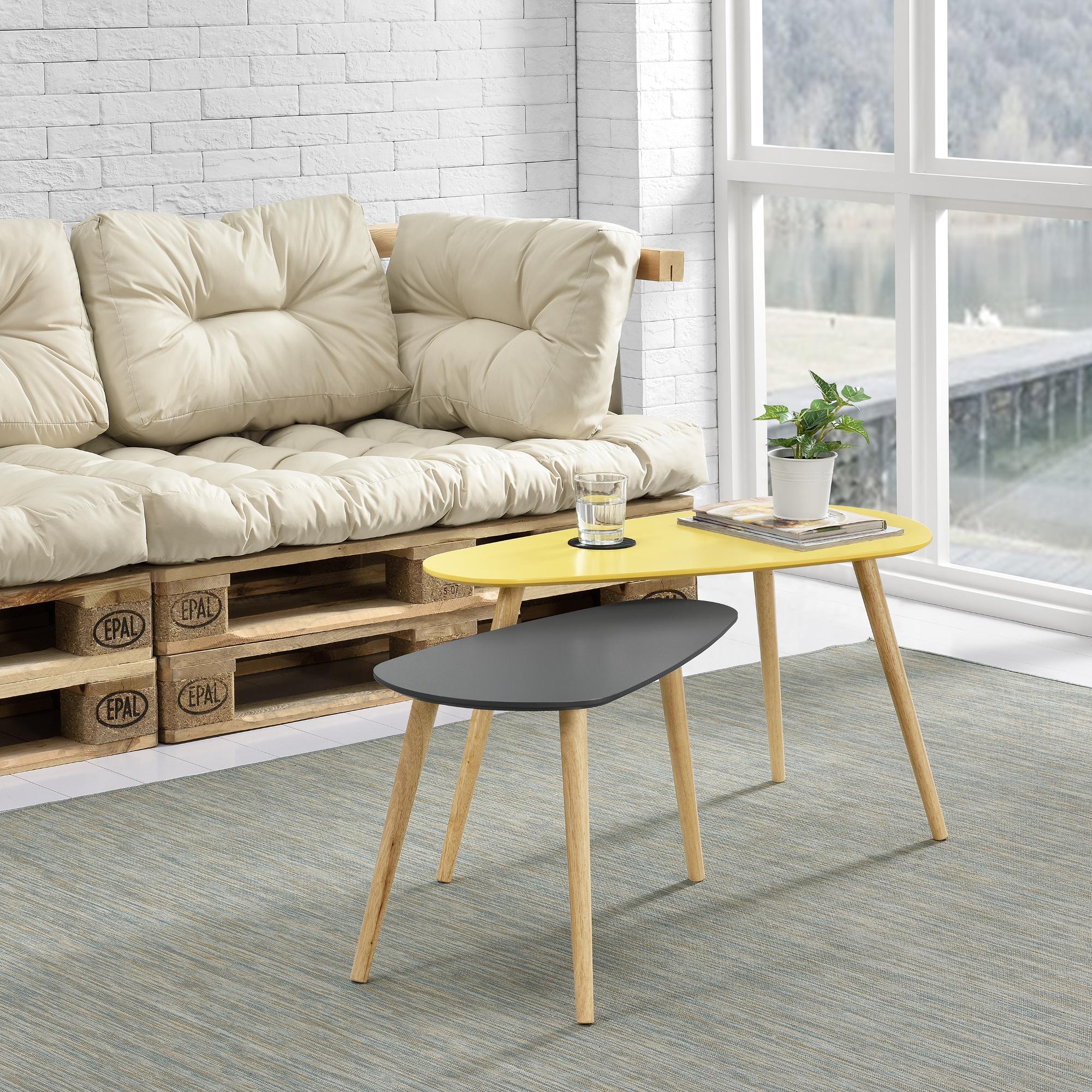 couchtisch 2er set beistelltisch beistell tisch modern wohnzimmer ebay. Black Bedroom Furniture Sets. Home Design Ideas