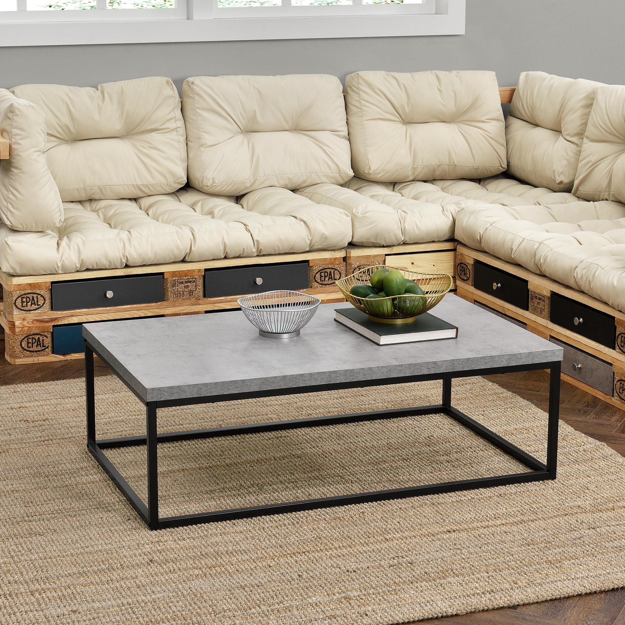 couchtisch 110x65x35cm wohnzimmertisch beistelltisch beton optik mdf ebay. Black Bedroom Furniture Sets. Home Design Ideas