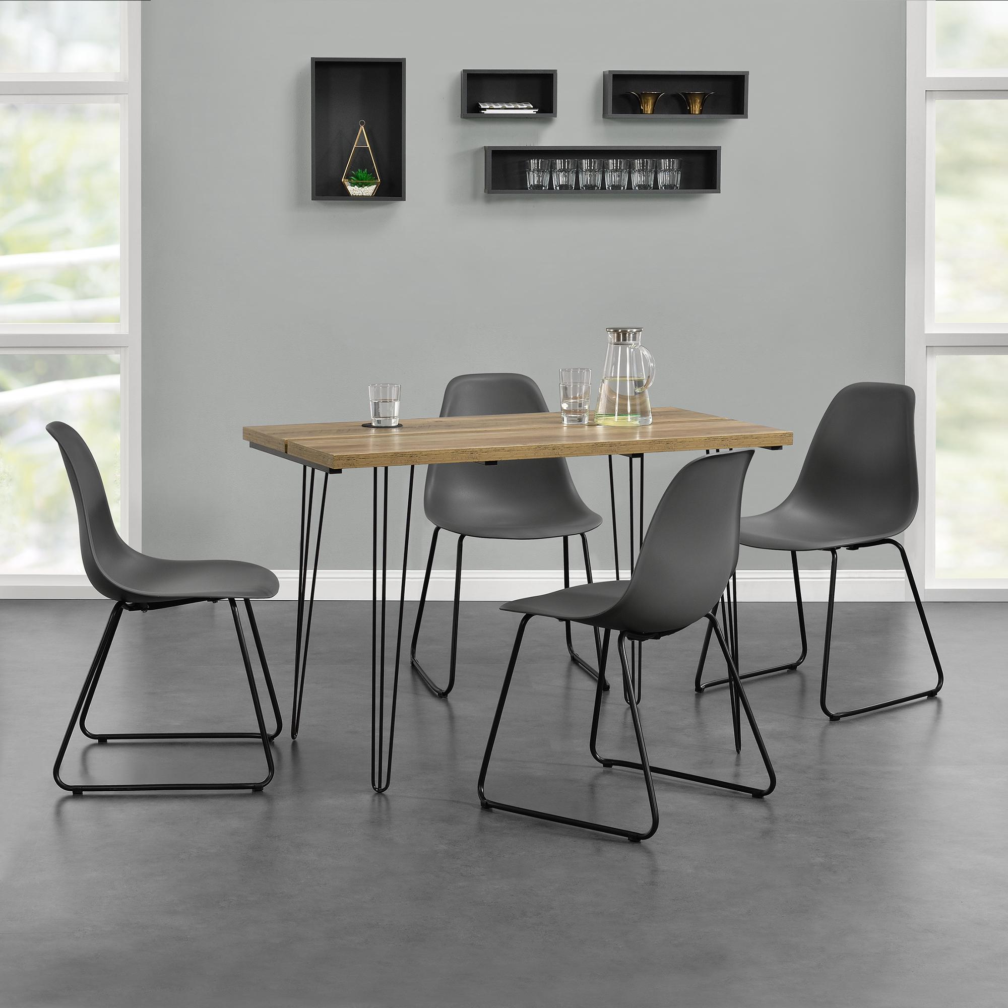 [en.casa]® Designový jídelní stůl - imitace dřeva + 4 ks židlí - tmavě šedé