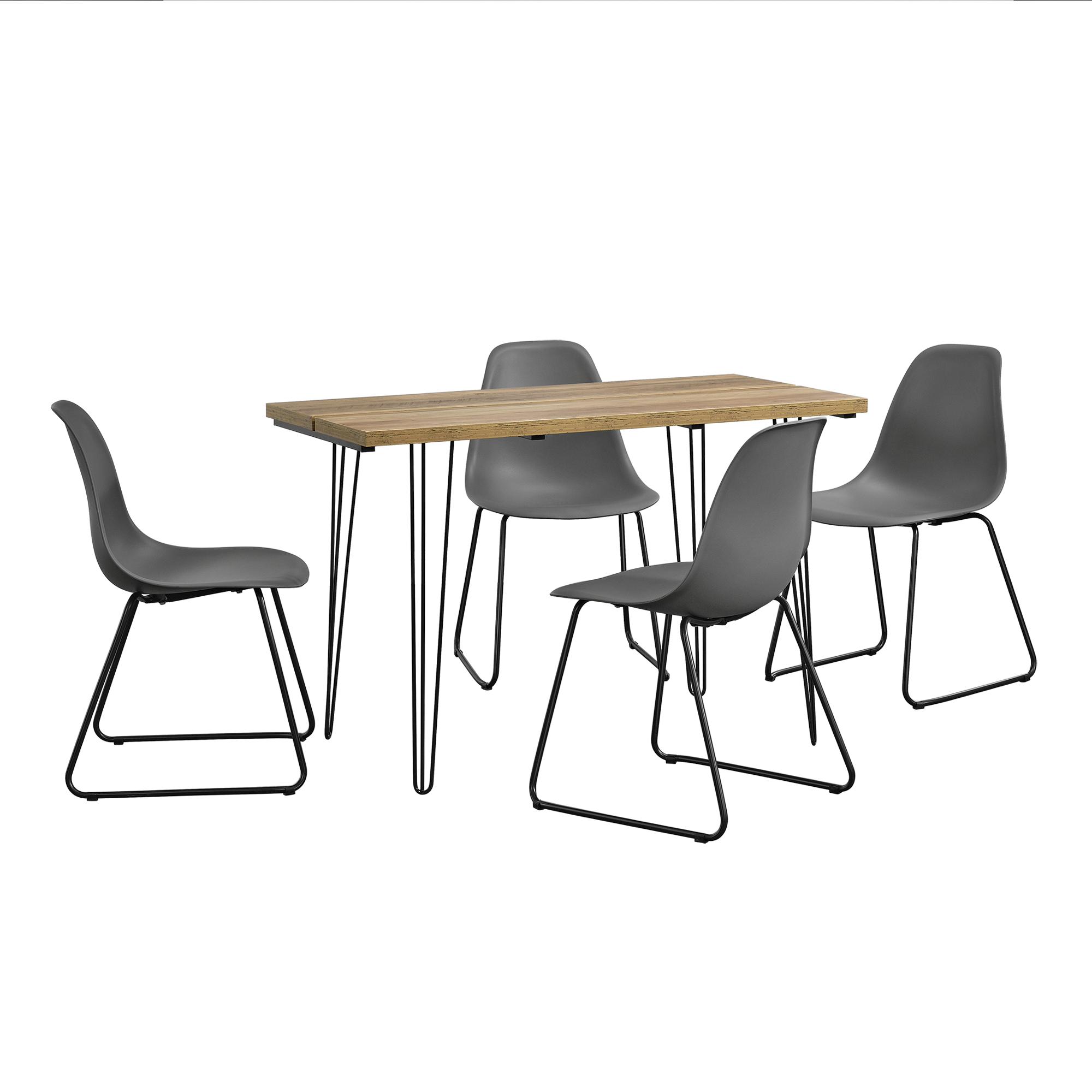 [en.casa]® Designový jídelní stůl AANT-0309 + 4 ks židlí AANE-1202 - tmavě šedé